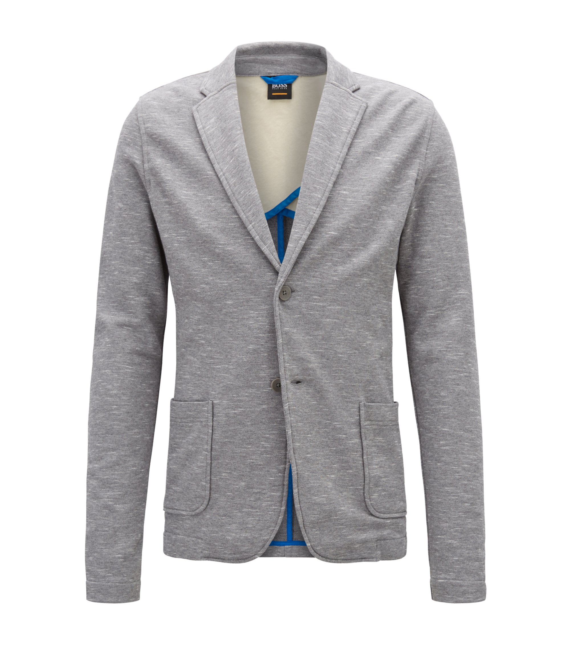 Regular-fit jacket in space-dyed French terry, Light Grey