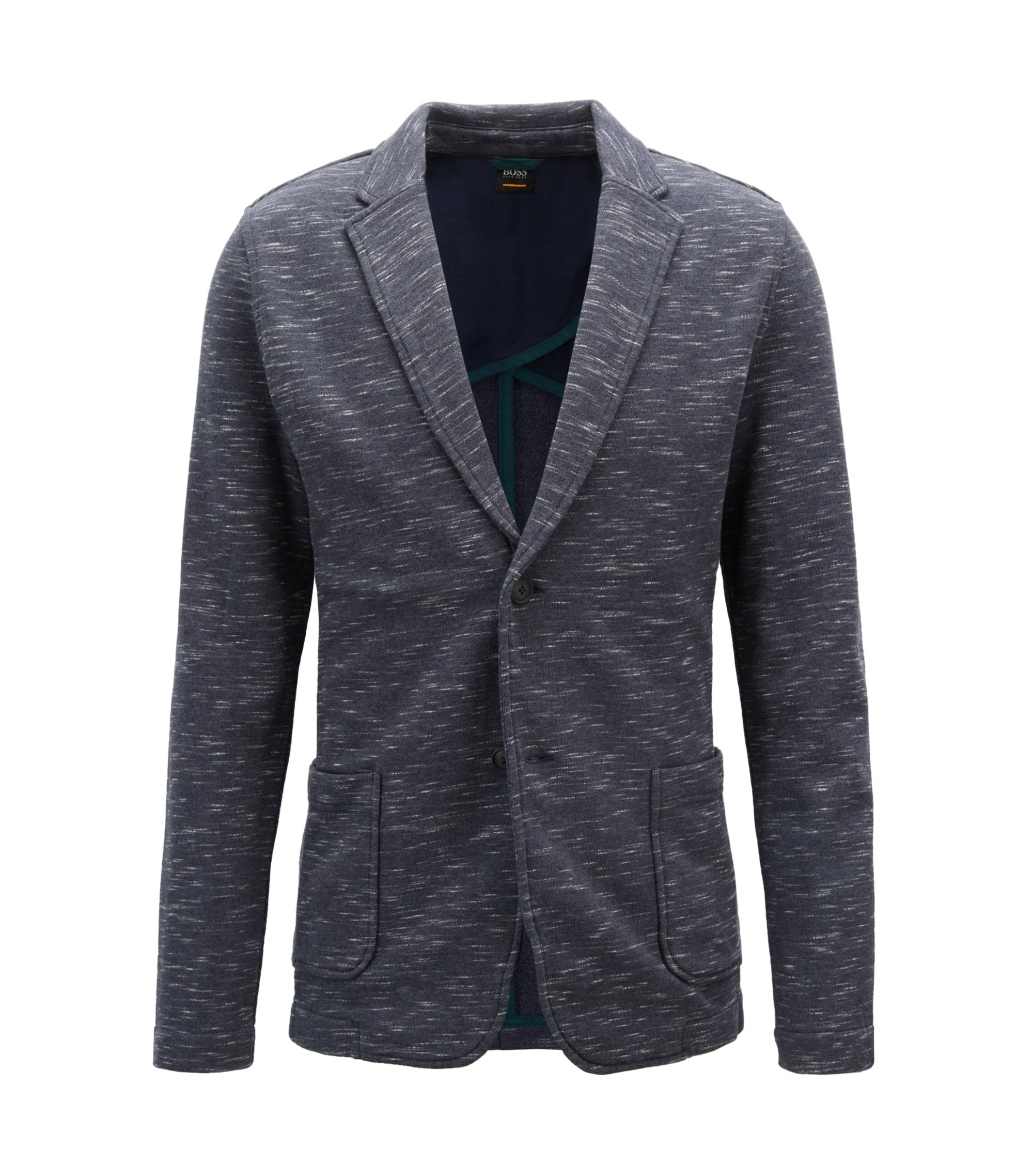 Giacca regular fit in french terry con effetto space-dye, Blu scuro