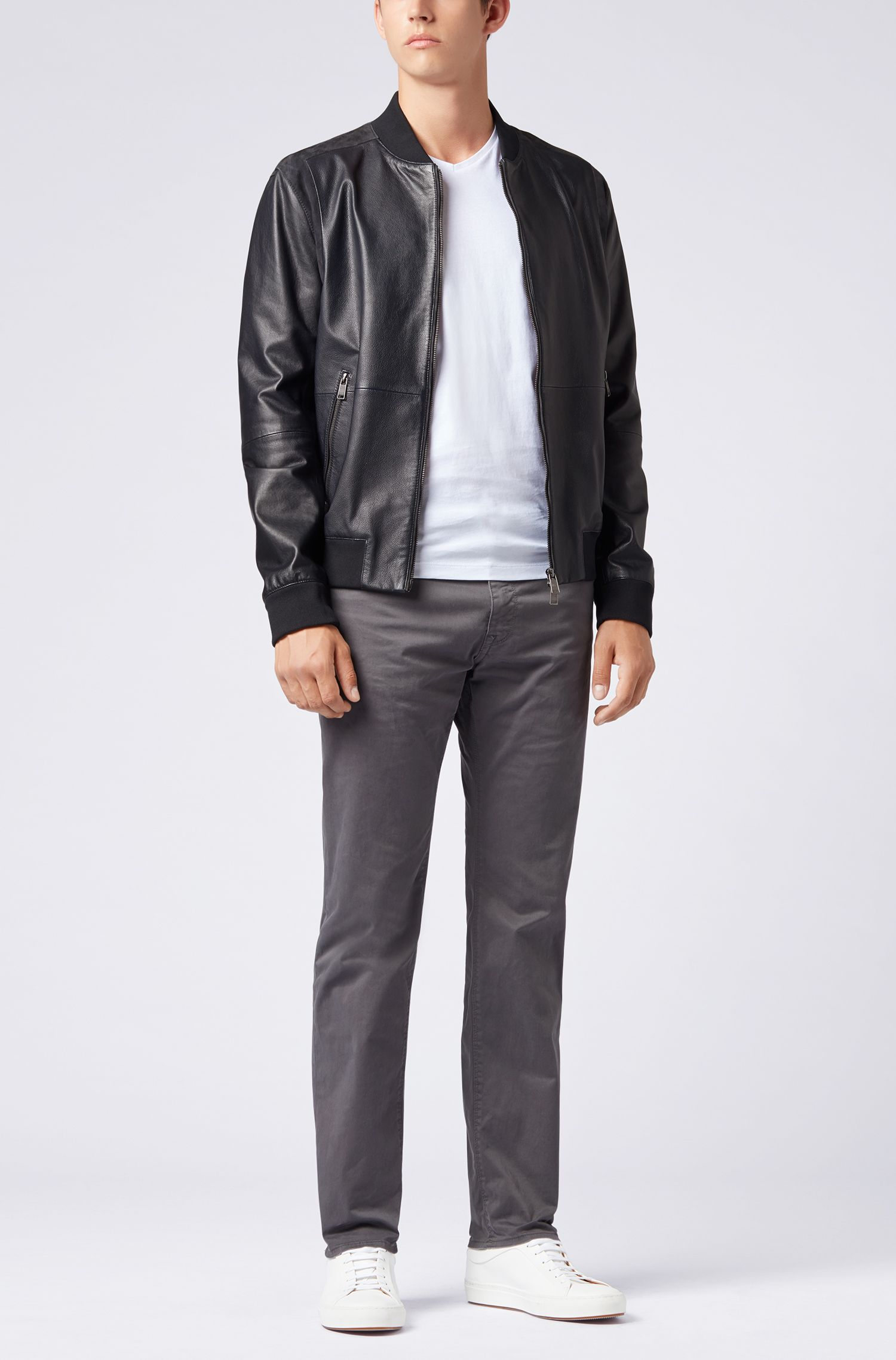 Slim-fit jeans in diamond-brushed stretch satin, Grey