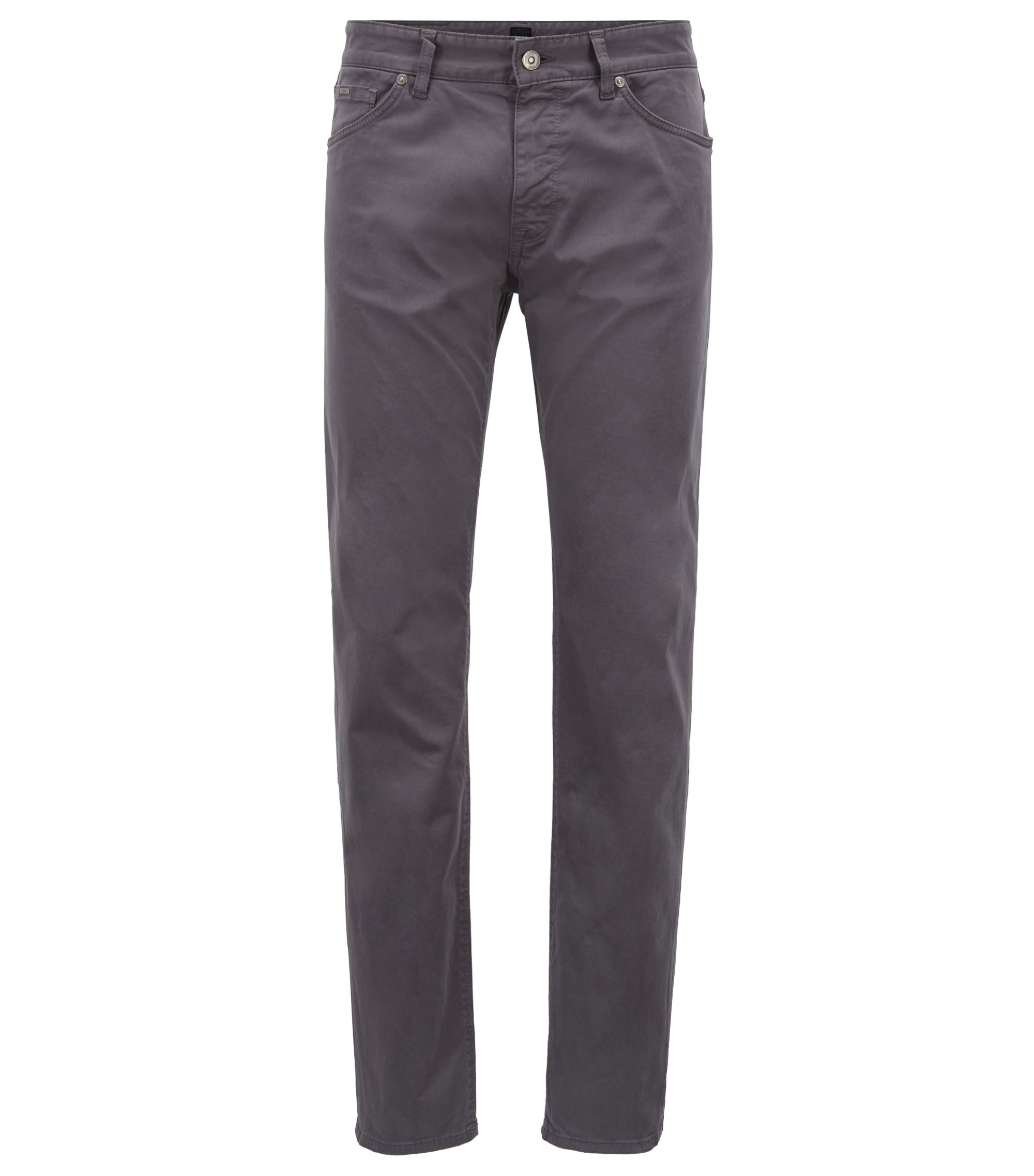 Slim-fit jeans in diamond-brushed stretch satin, Grey