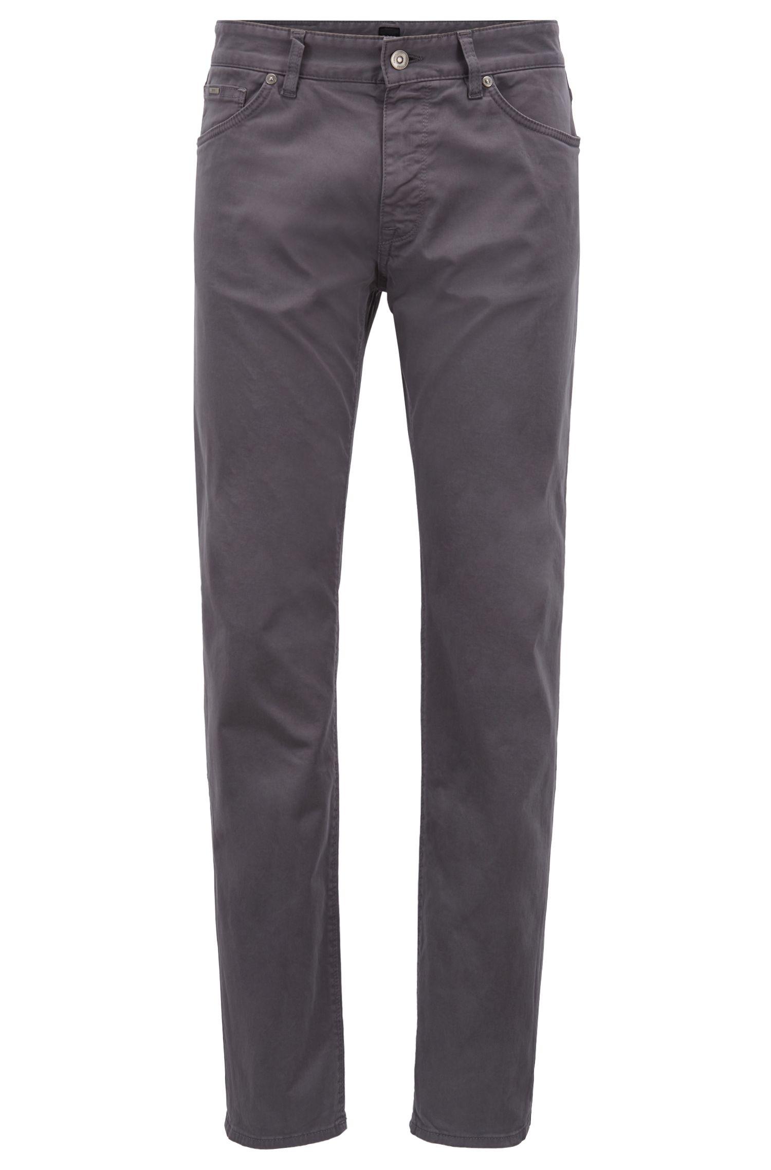 Slim-Fit Jeans aus gebürstetem Stretch-Satin, Grau
