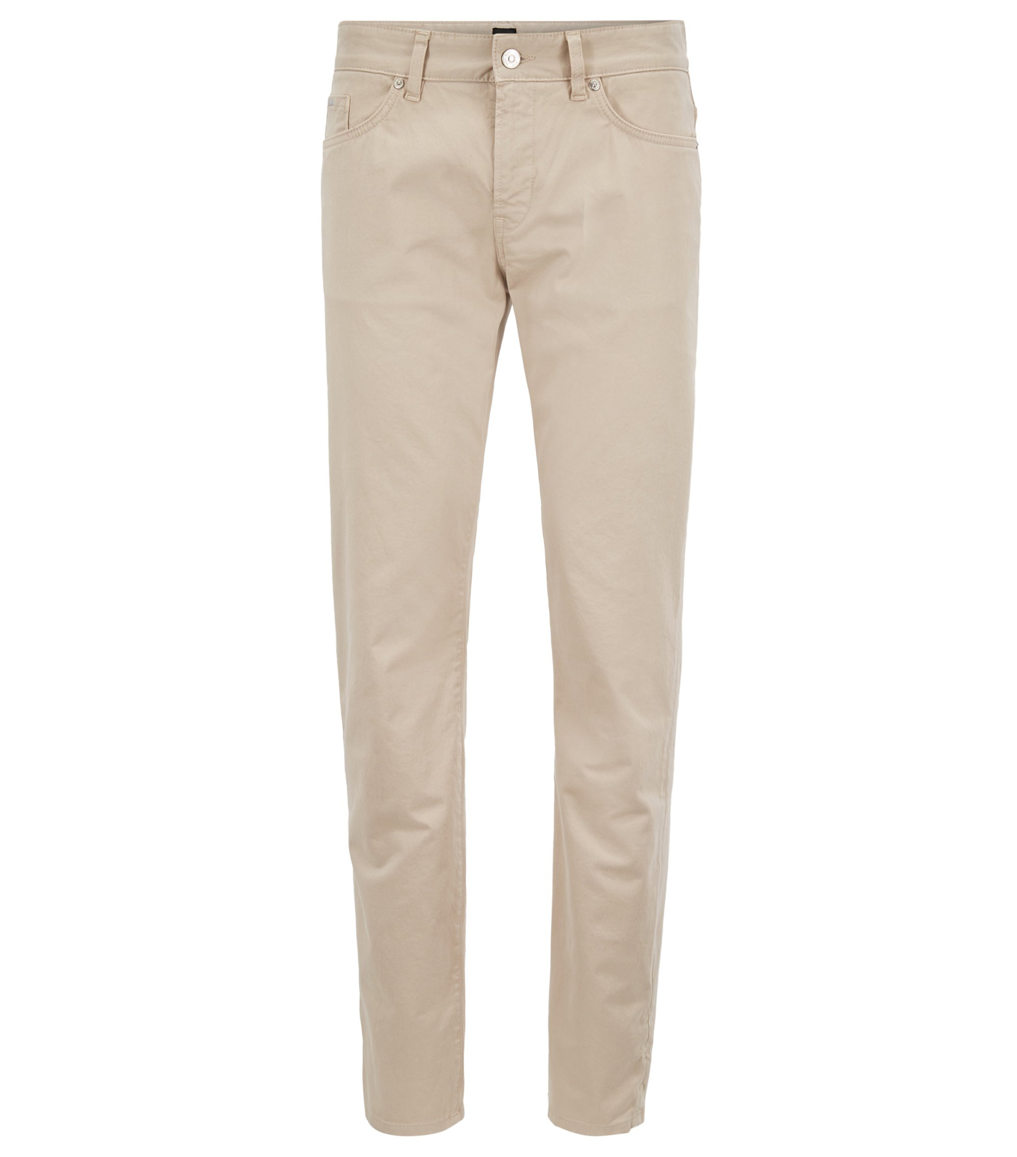 Slim-fit jeans in diamond-brushed stretch satin, Light Beige