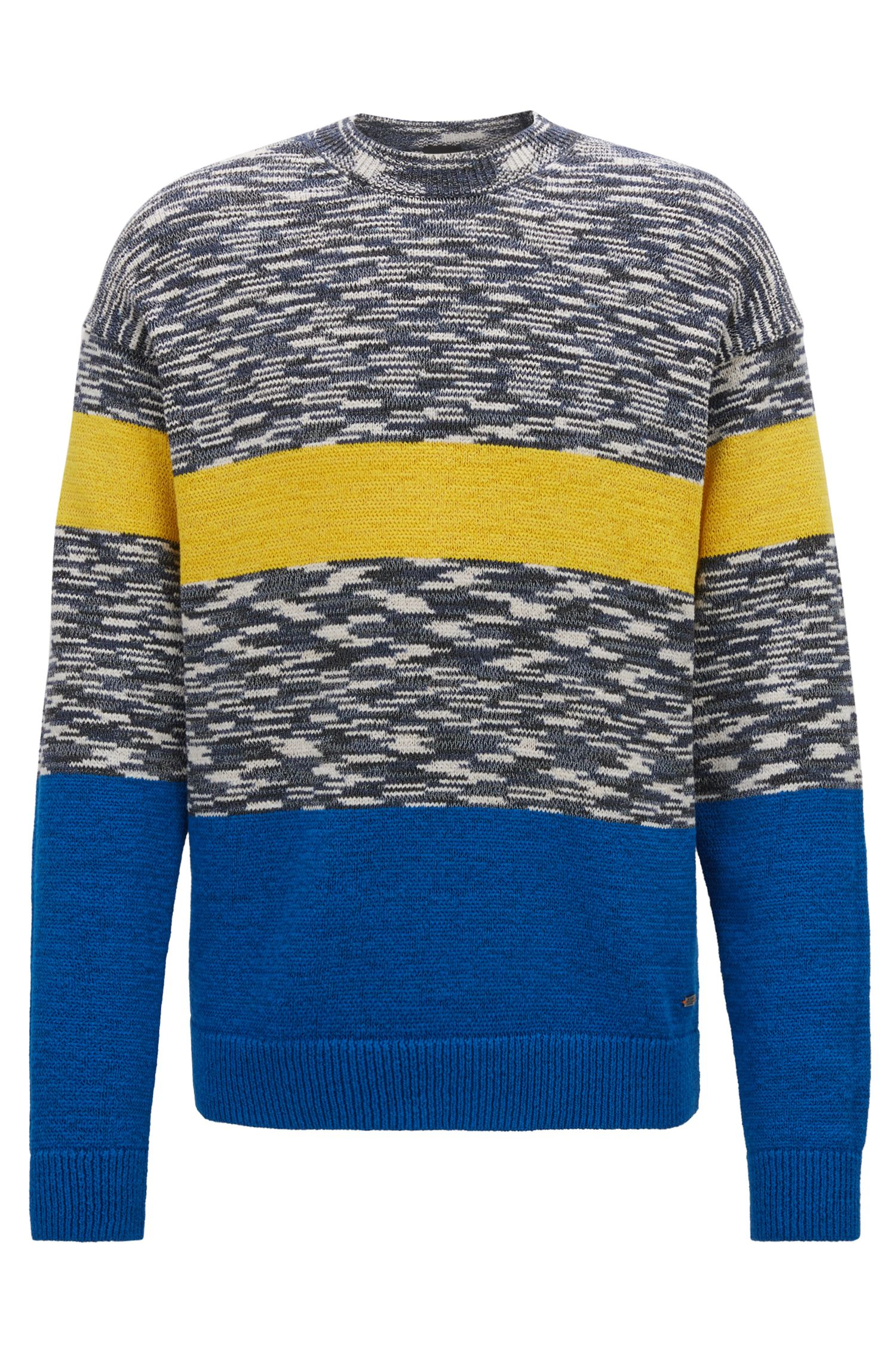 Pullover aus meliertem Baumwoll-Mix in Colour-Block-Optik