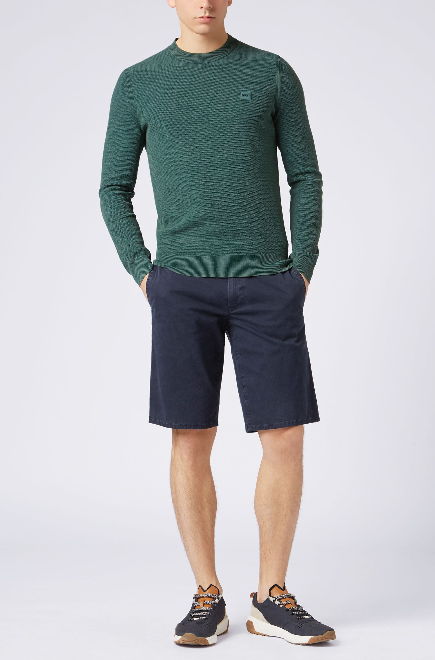 Cotton crew-neck sweater with all-over texture, Dark Green