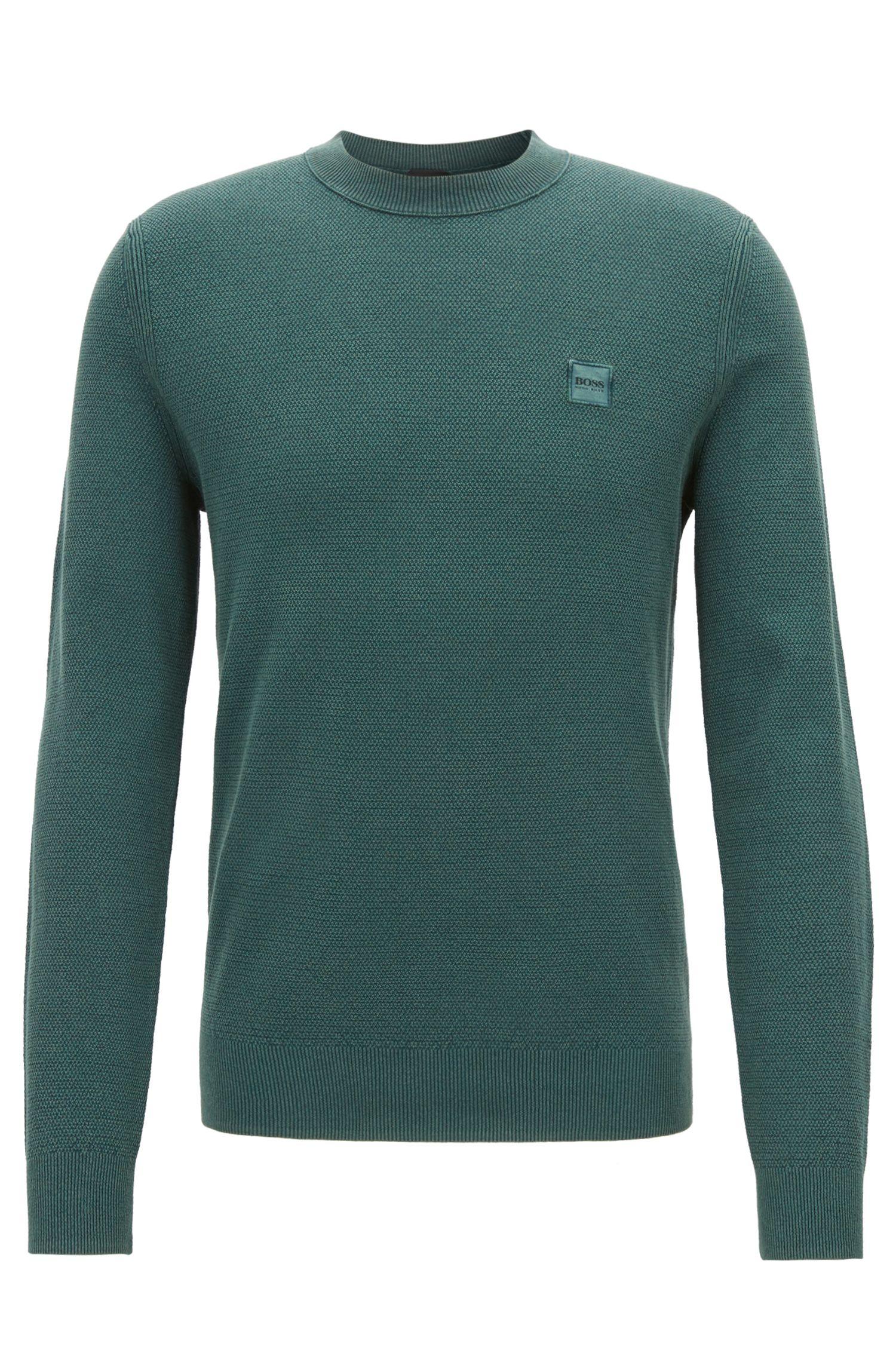 Jersey de cuello redondo en algodón con textura, Verde oscuro