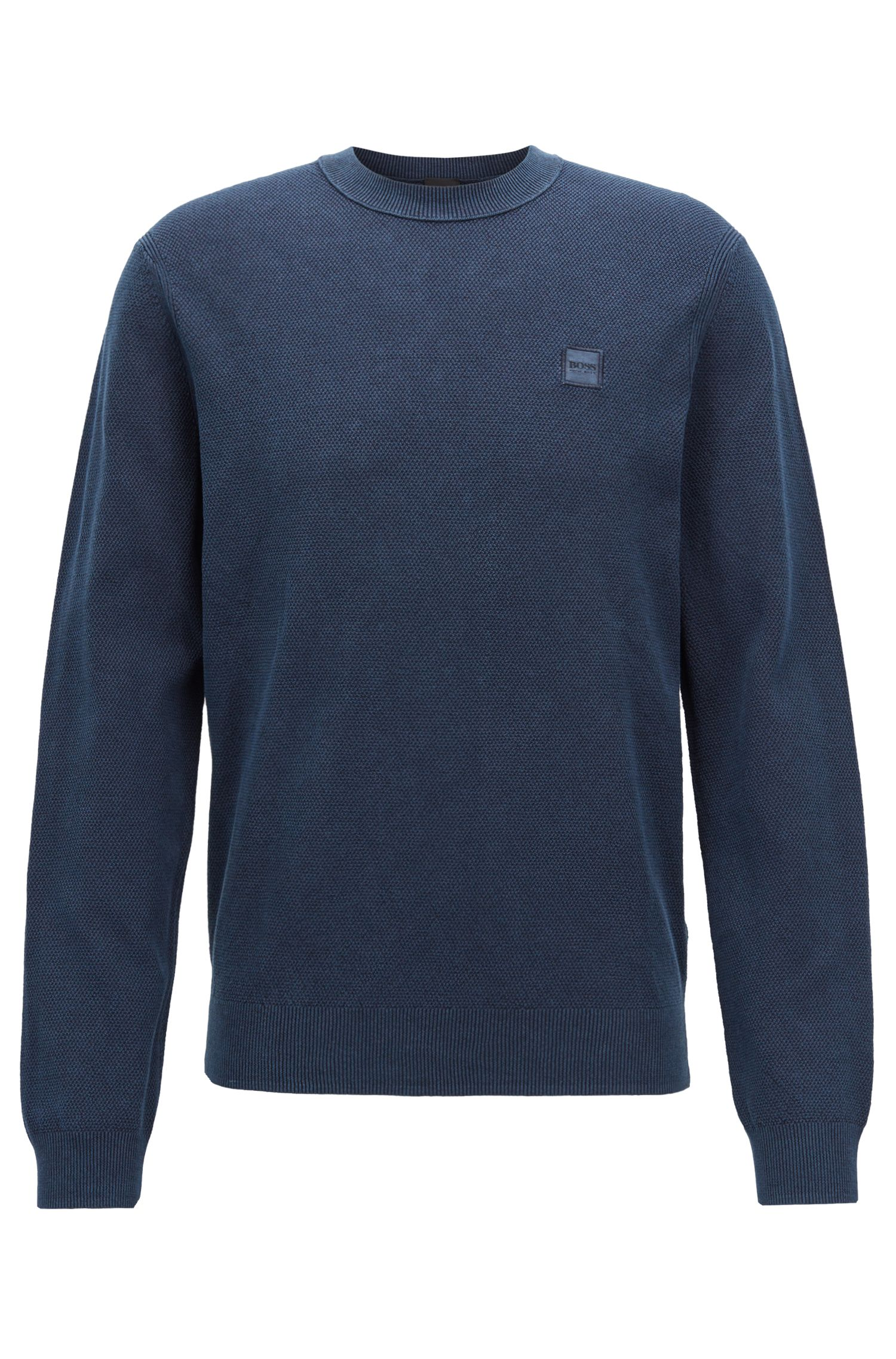 Cotton crew-neck sweater with all-over texture, Dark Blue