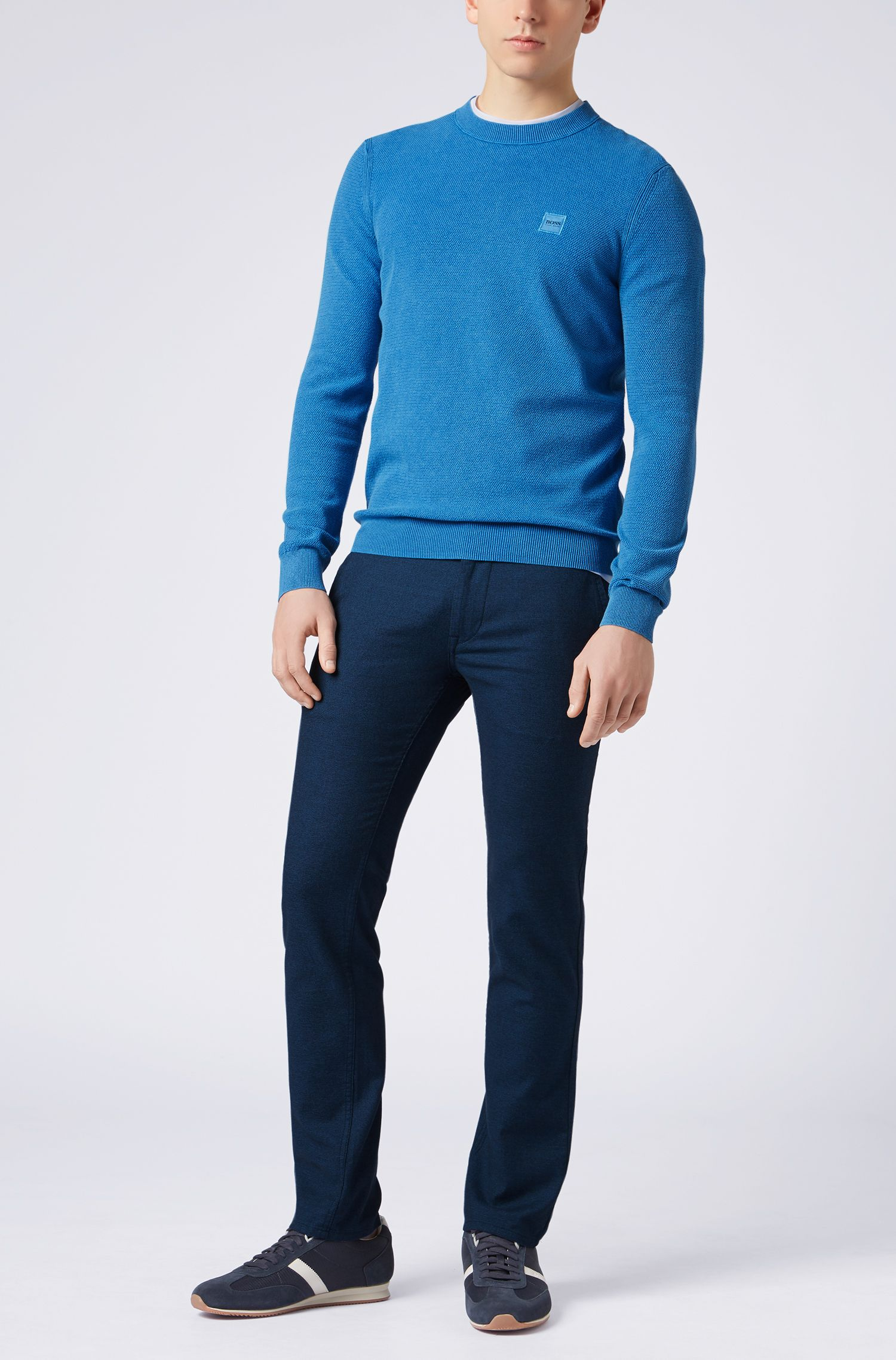 Cotton crew-neck sweater with all-over texture