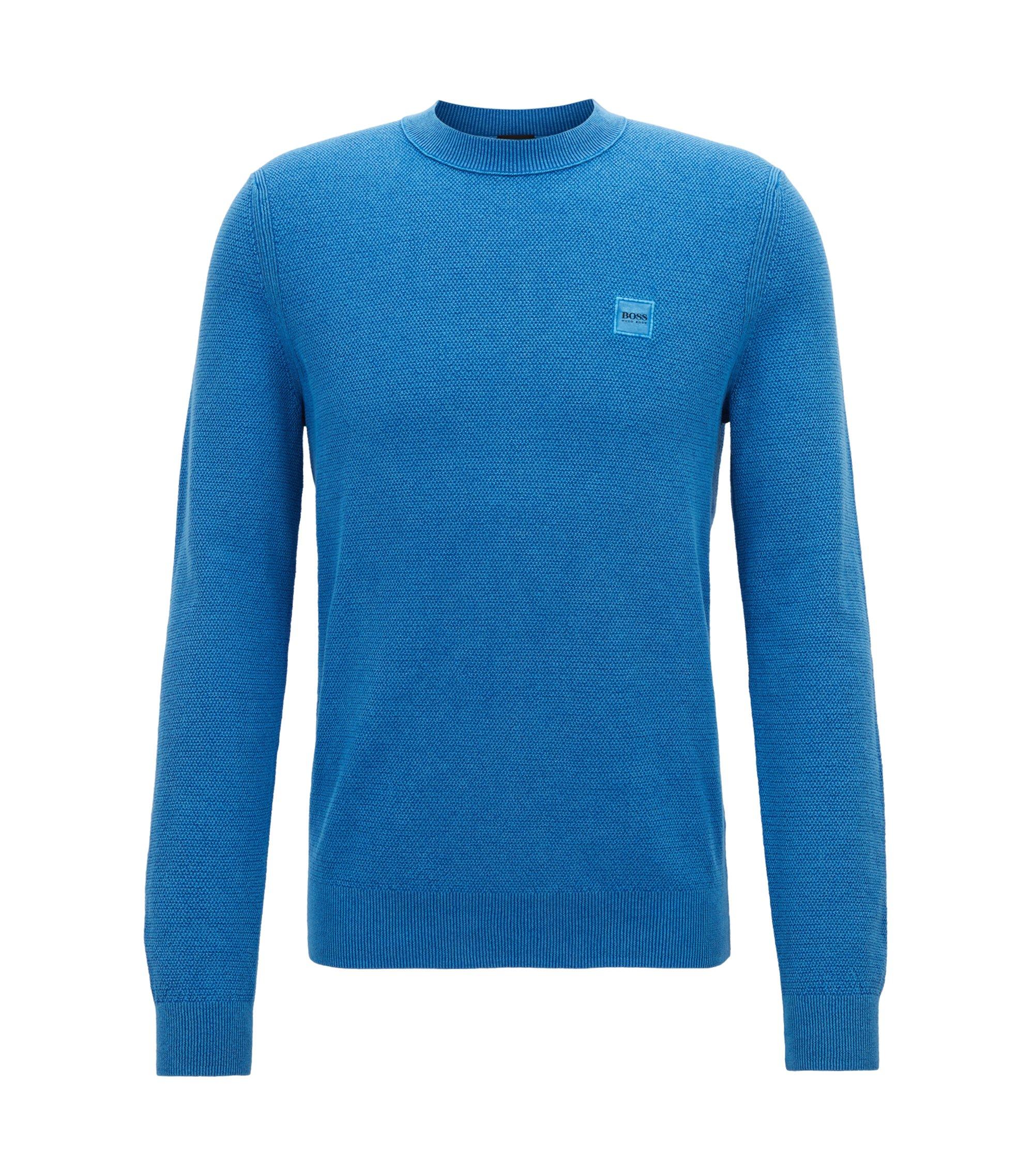 Katoenen trui met ronde hals en all-over-textuur, Blauw