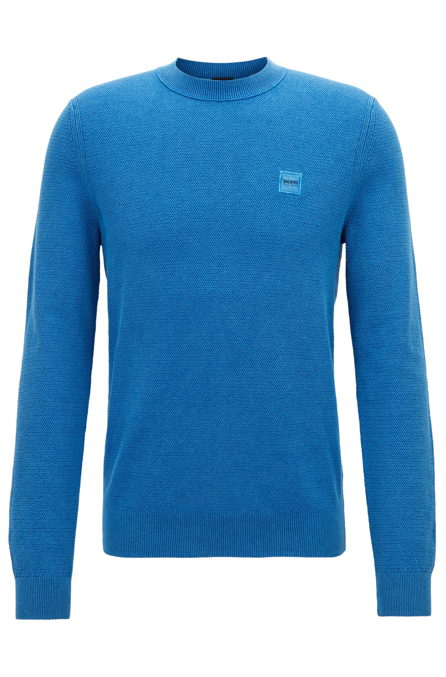 Cotton crew-neck sweater with all-over texture, Blue