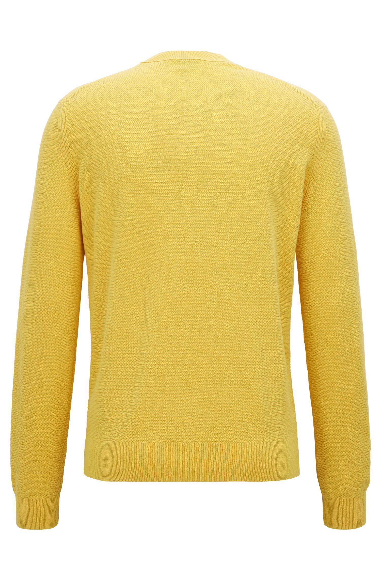 Pullover aus Baumwolle mit Rundhalsausschnitt und Allover-Struktur, Gelb