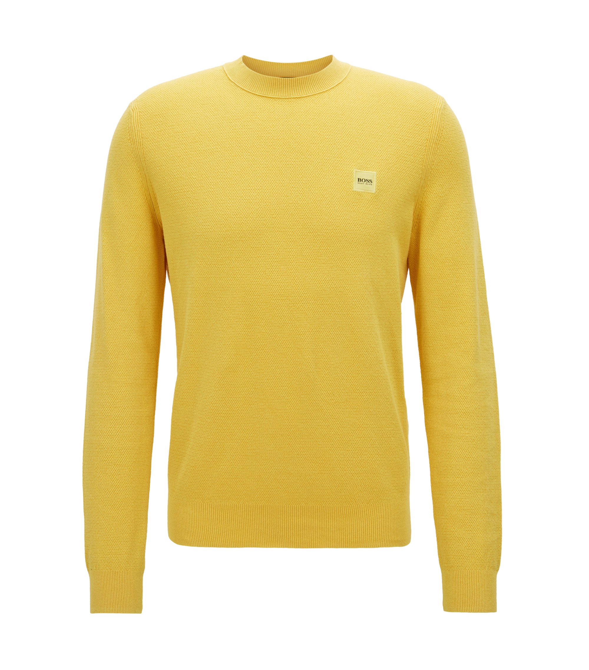 Cotton crew-neck sweater with all-over texture, Yellow