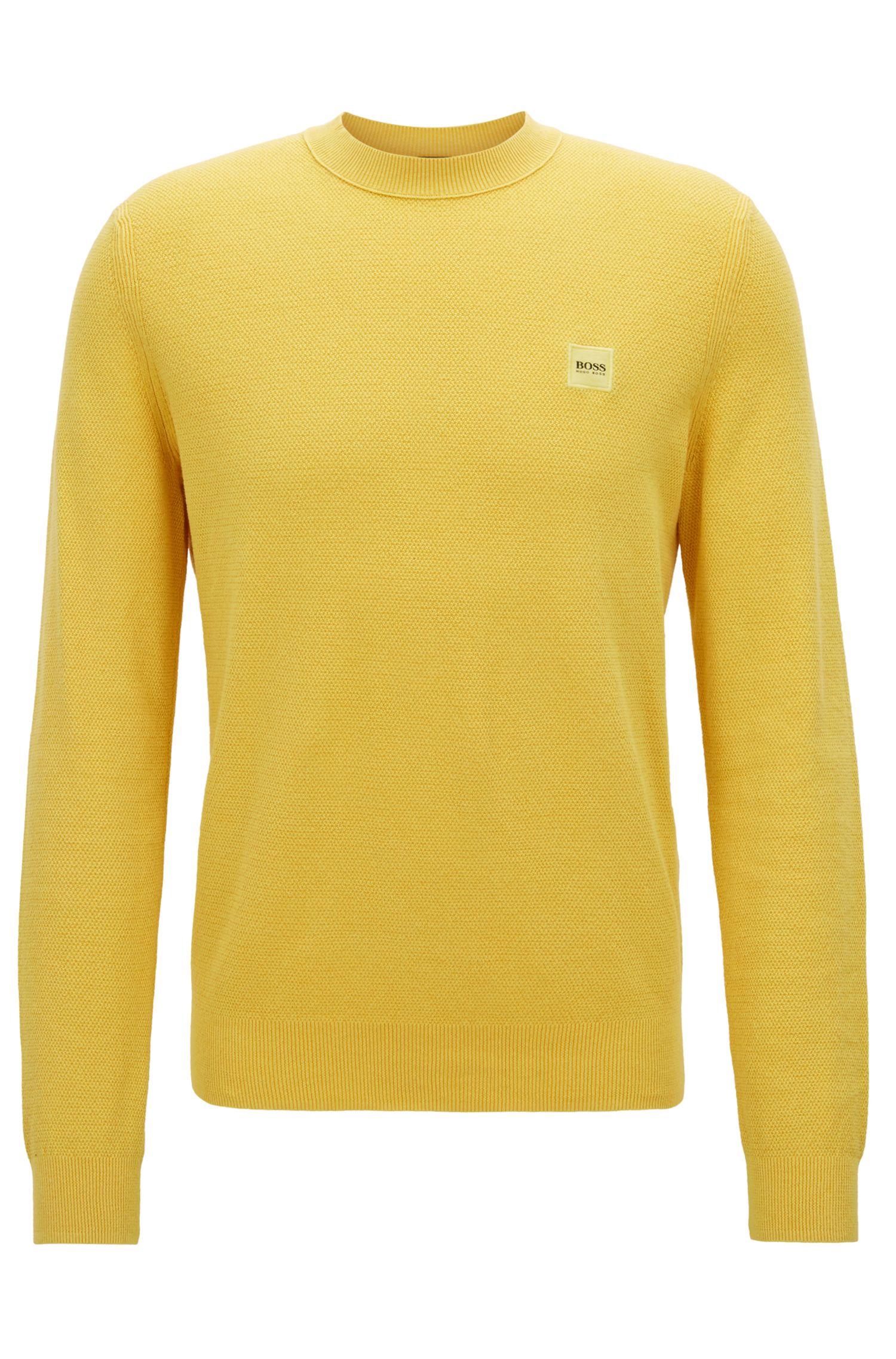 Jersey de cuello redondo en algodón con textura
