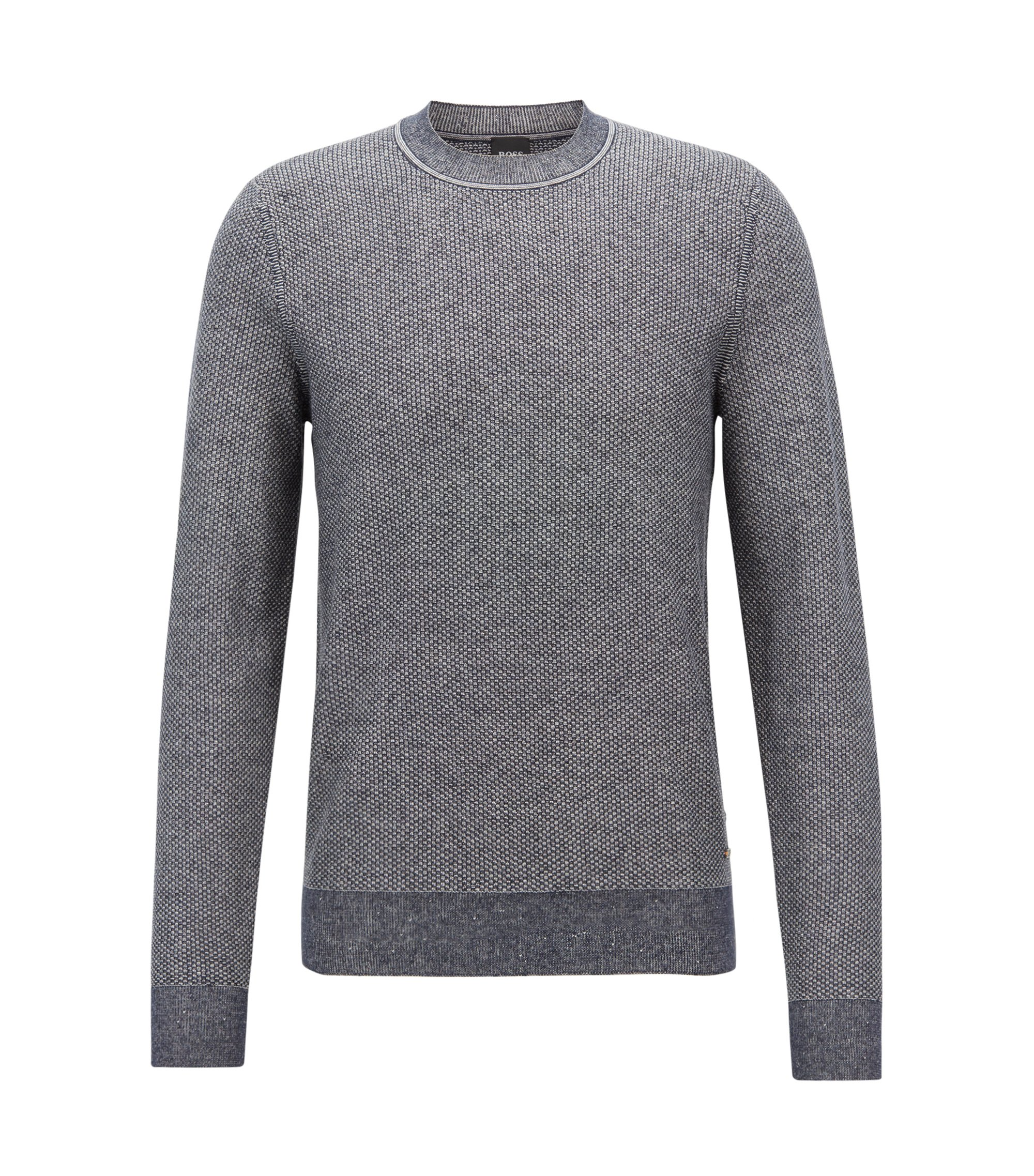 Crew-neck sweater in cotton-blend jacquard, Dark Blue