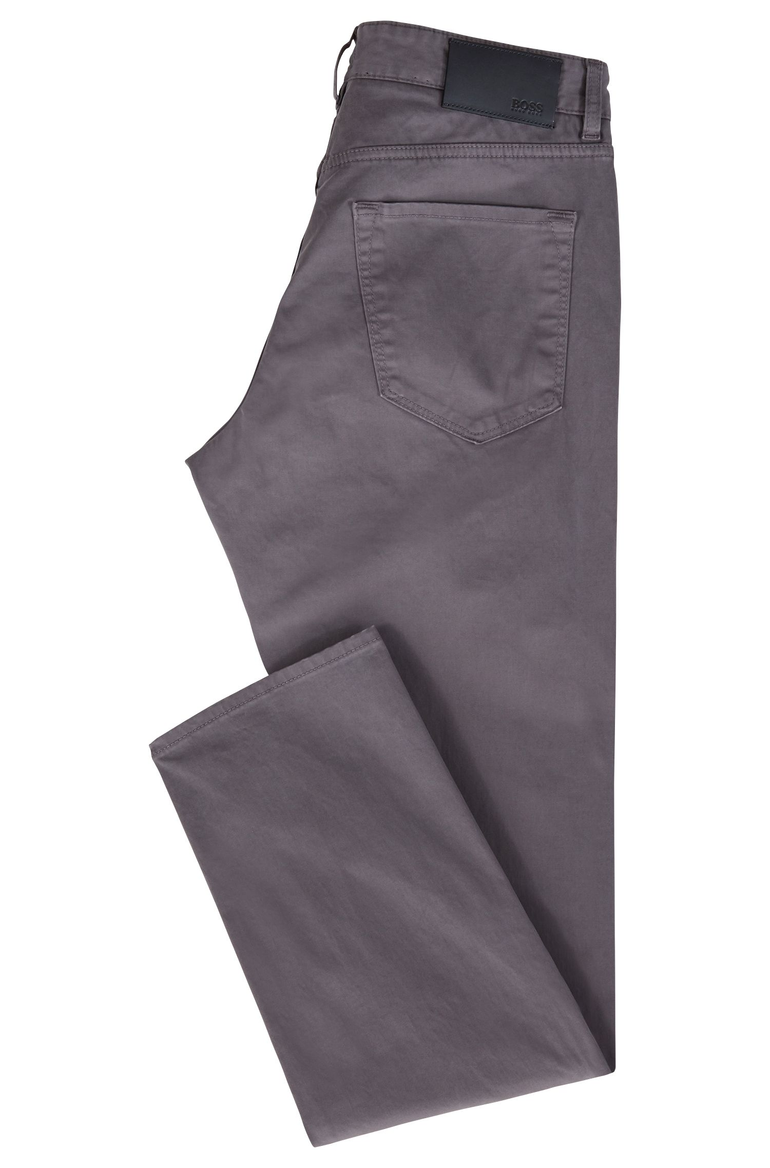 Regular-fit jeans in diamond-brushed satin stretch denim, Grey