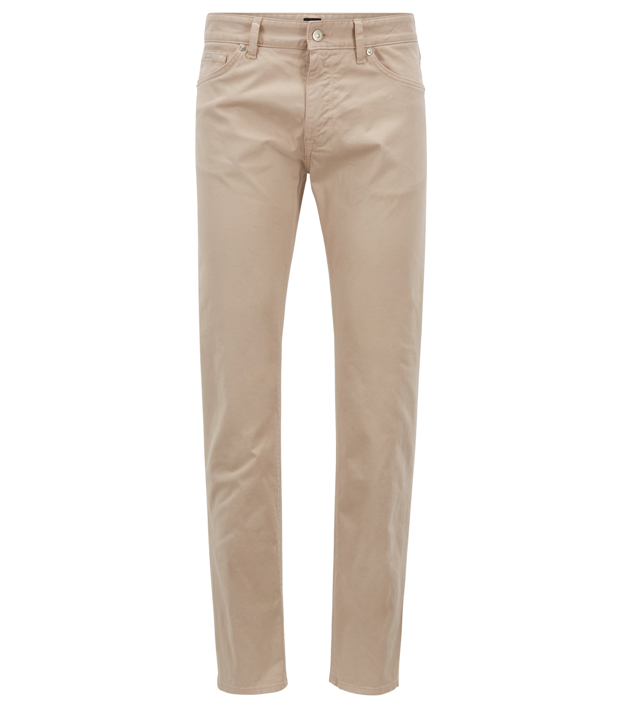 Regular-fit jeans in diamond-brushed satin stretch denim, Light Beige