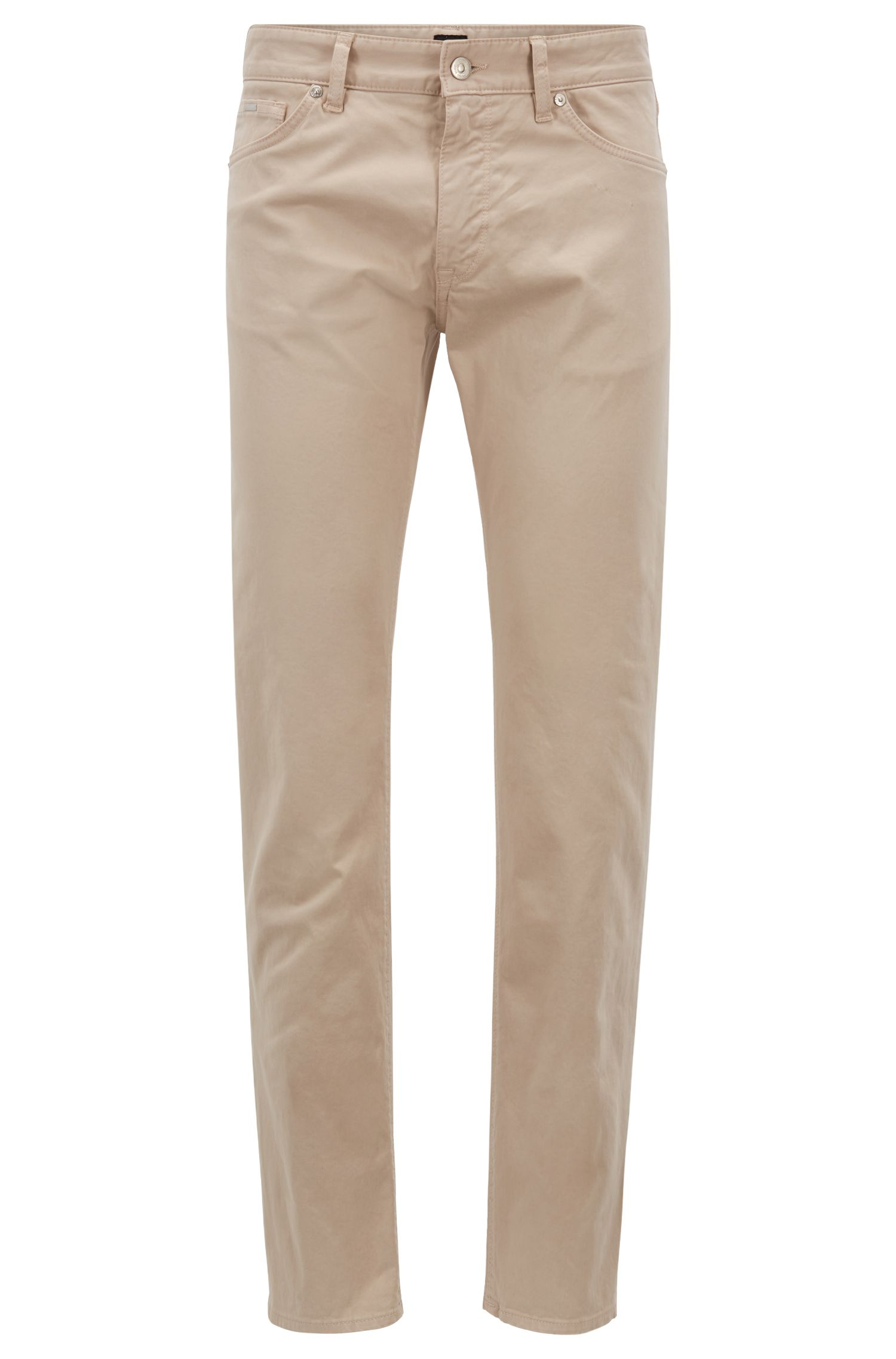 Jean Regular Fit en denim stretch effet satin brossé Diamond Brushed, Beige clair