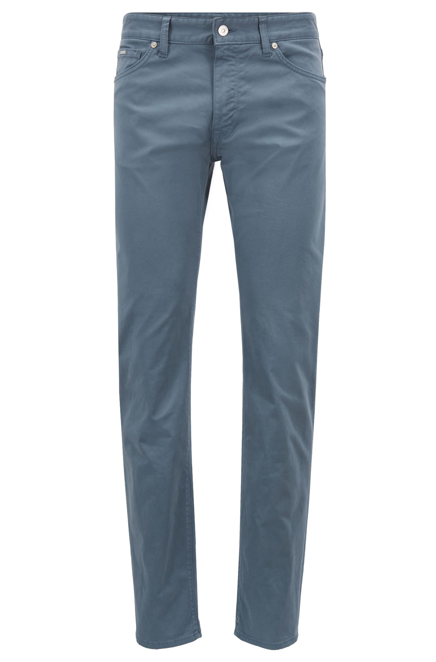 Regular-fit jeans in diamond-brushed satin stretch denim, Blue