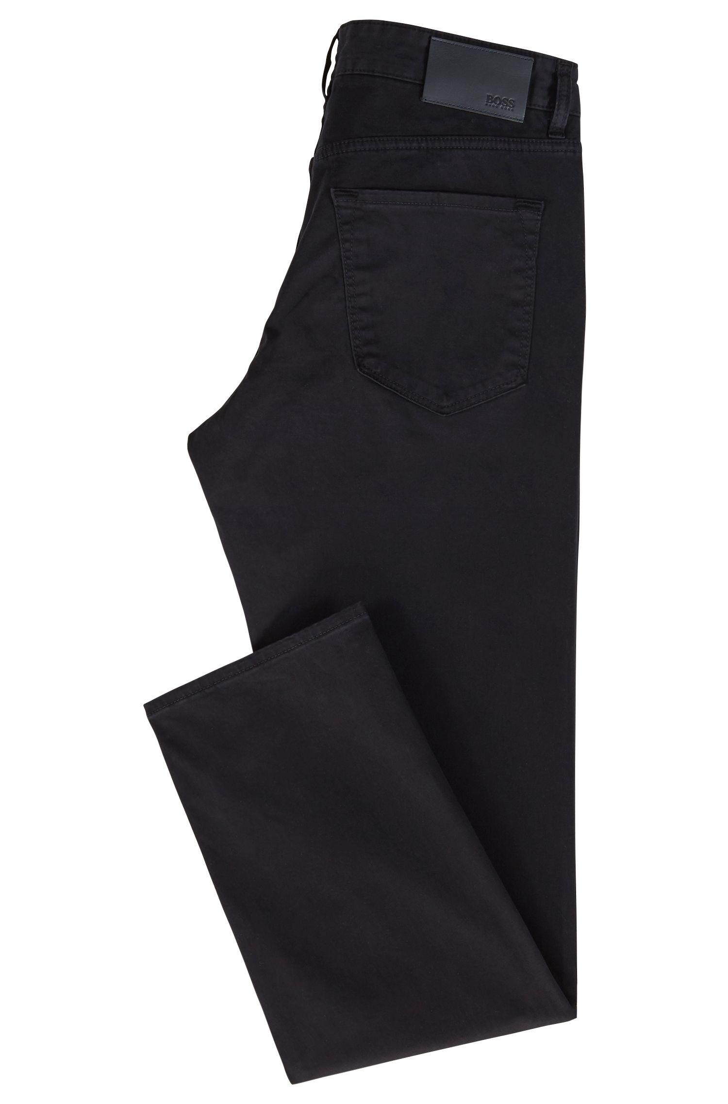 Regular-fit jeans in diamond-brushed satin stretch denim, Blue