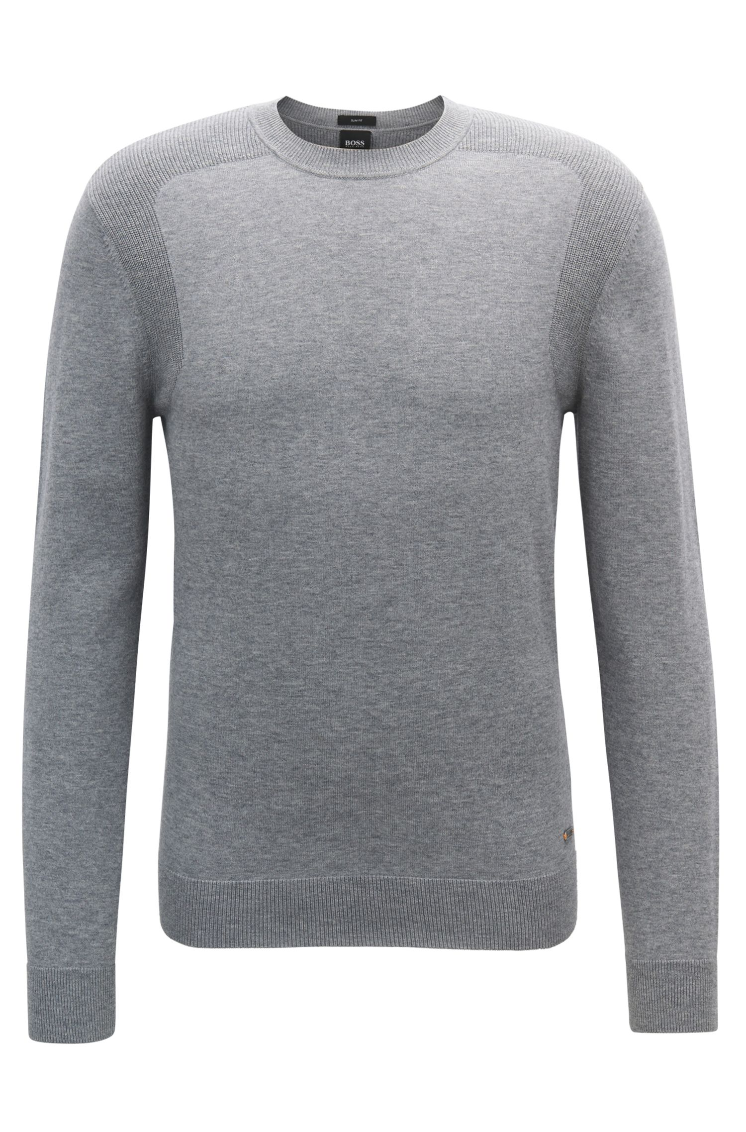 Cotton-blend sweater with contrast shoulder panels
