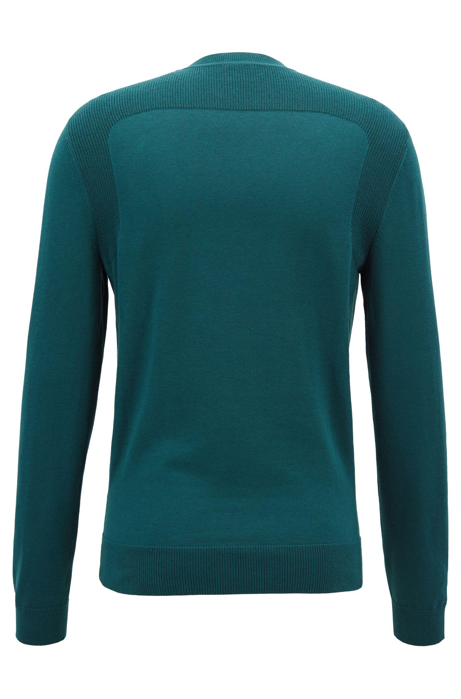 Cotton-blend sweater with contrast shoulder panels, Dark Green