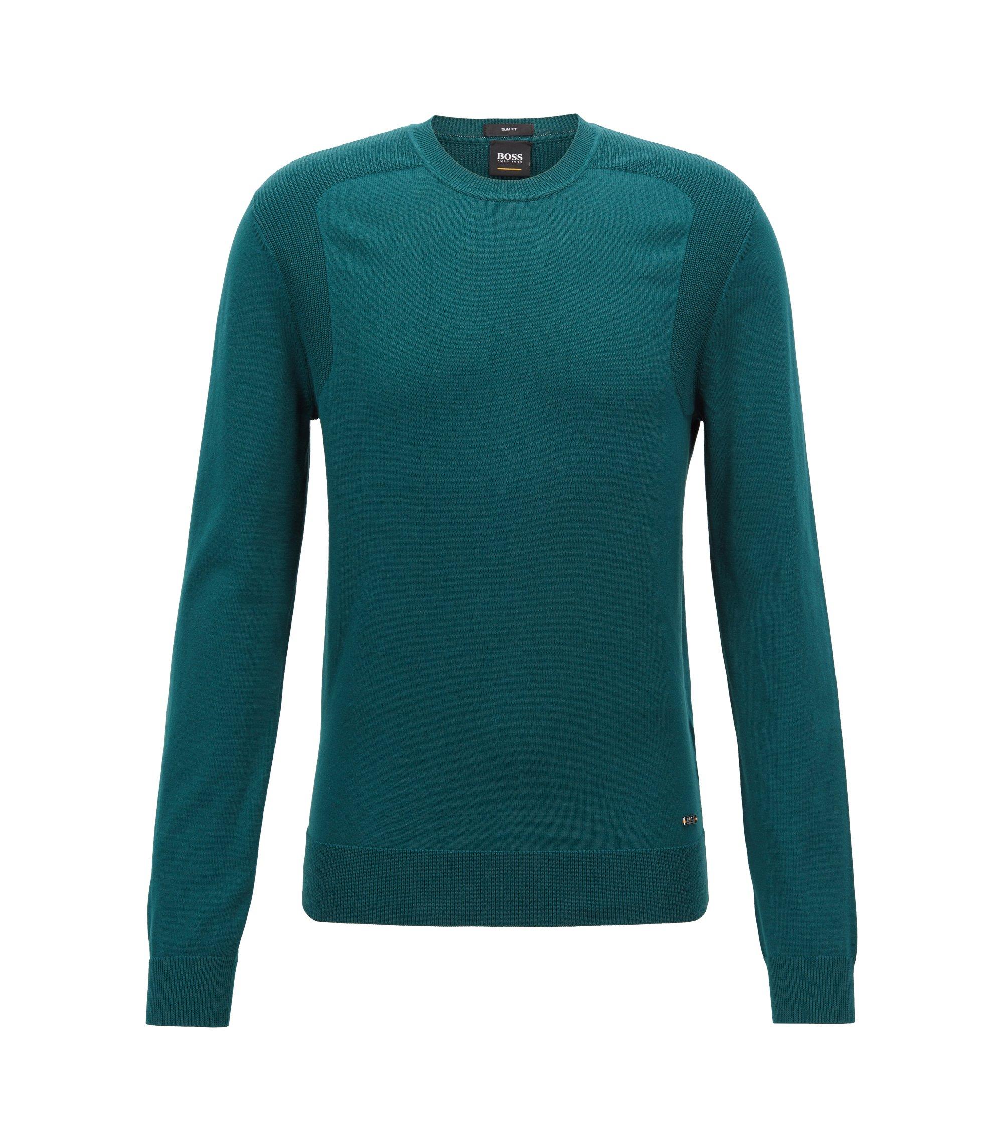 Pull en coton mélangé avec empiècements contrastants sur les épaules, Vert sombre