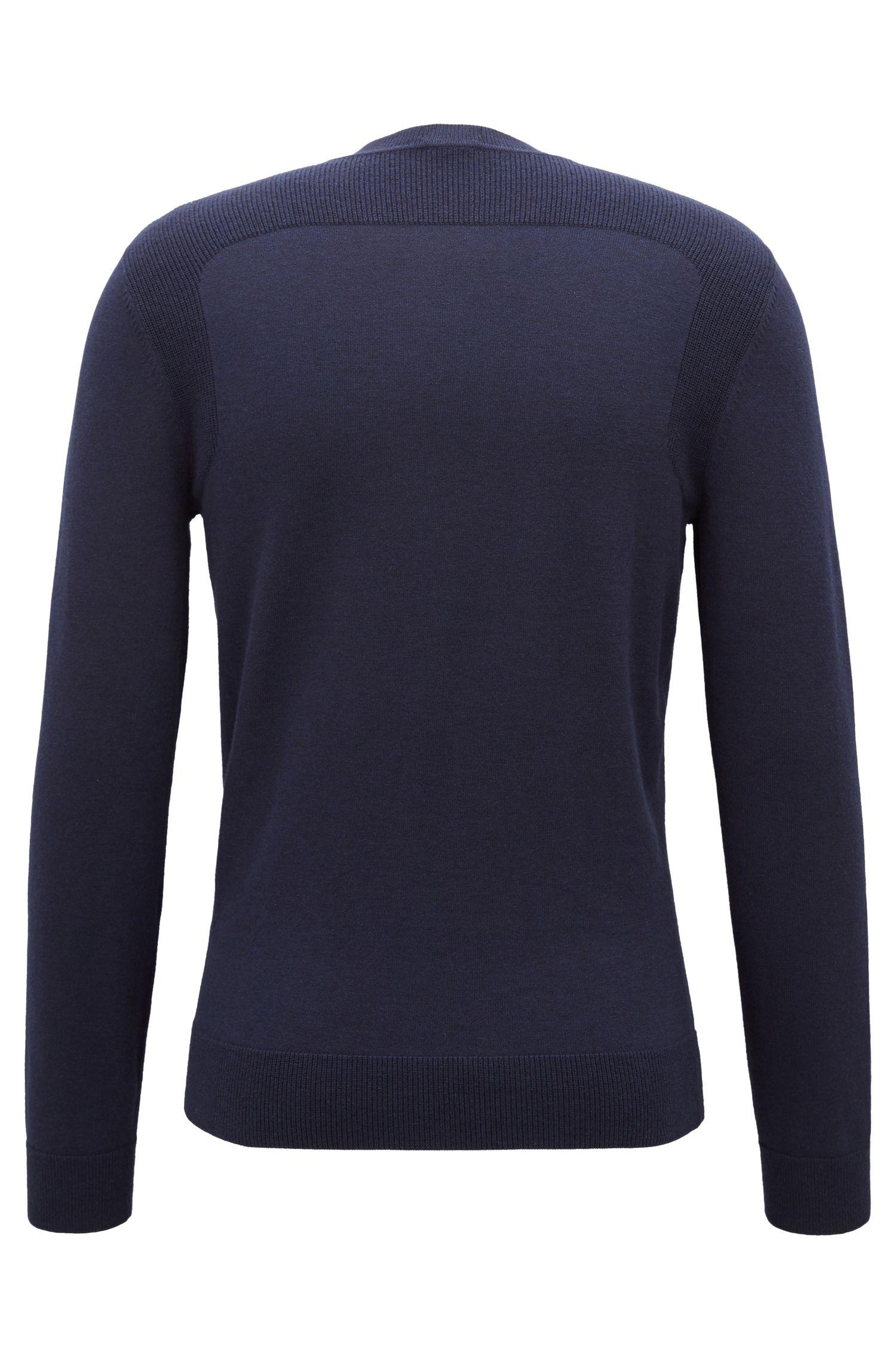 Pullover aus Baumwoll-Mix mit kontrastierenden Schulterbahnen, Dunkelblau