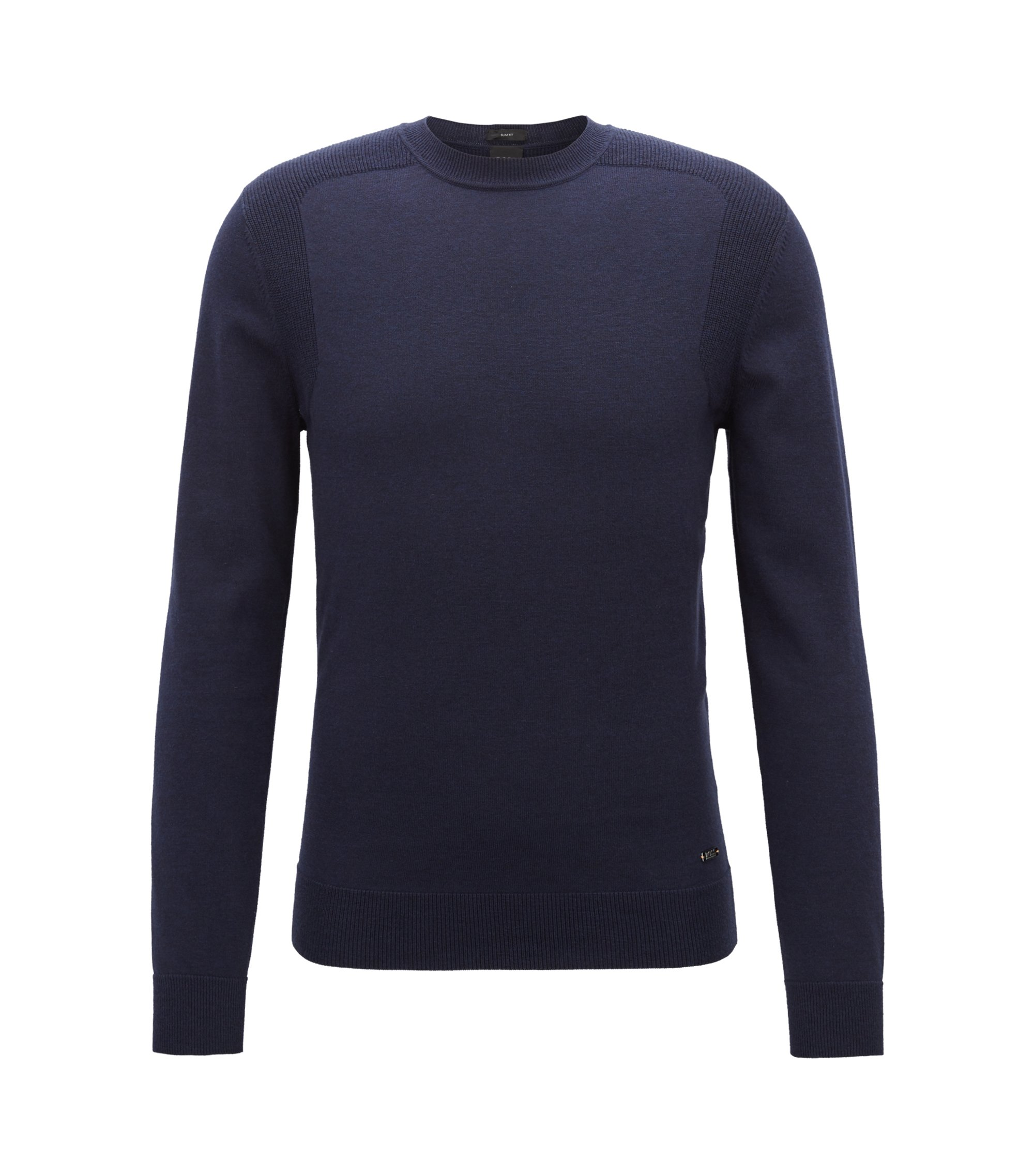 Cotton-blend sweater with contrast shoulder panels, Dark Blue