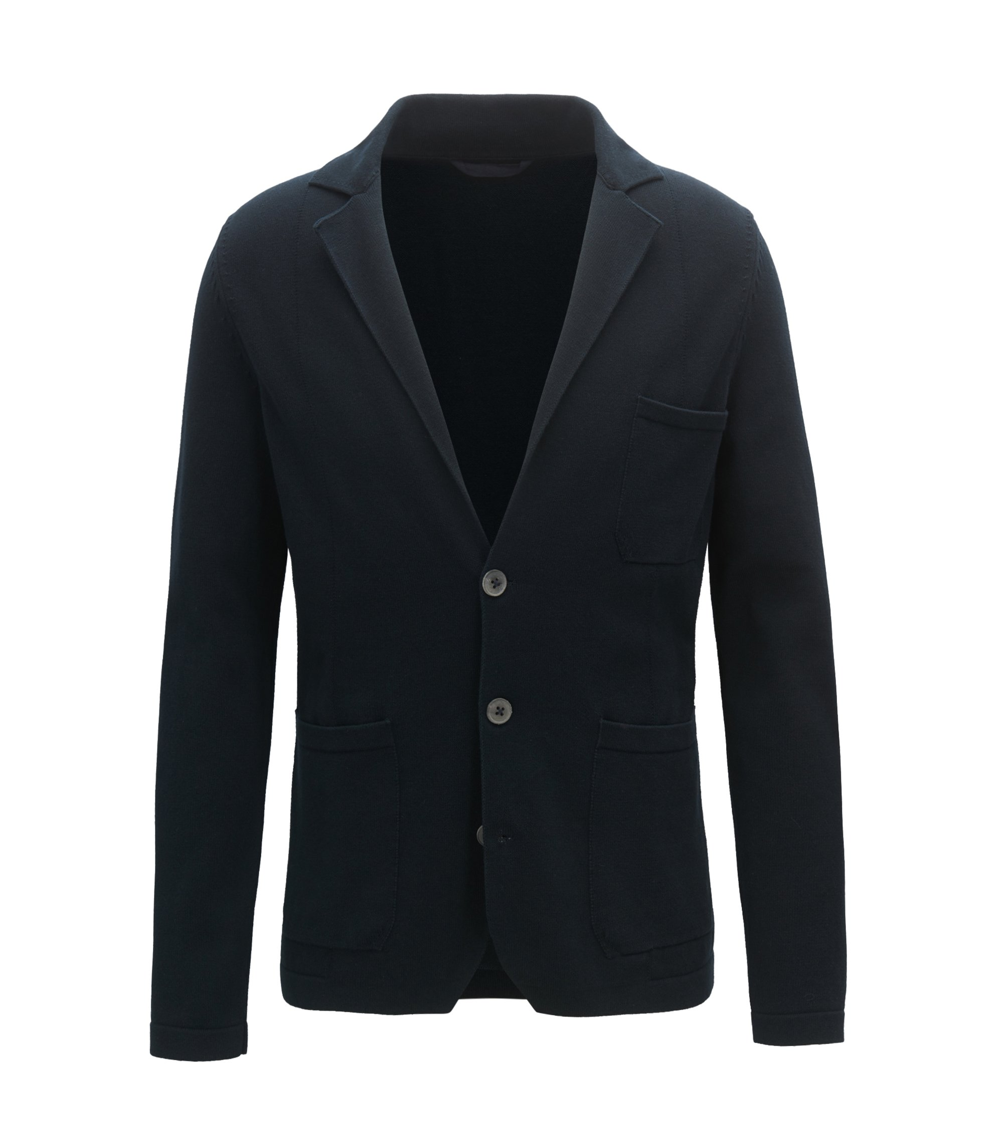 Regular-fit knitted blazer in pure cotton, Dark Blue