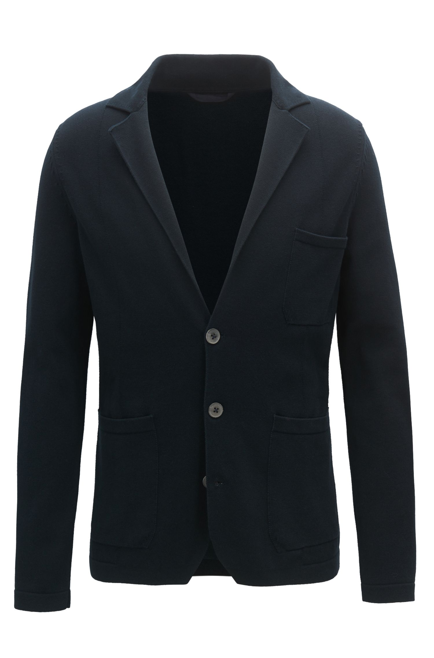 Regular-fit knitted blazer in pure cotton