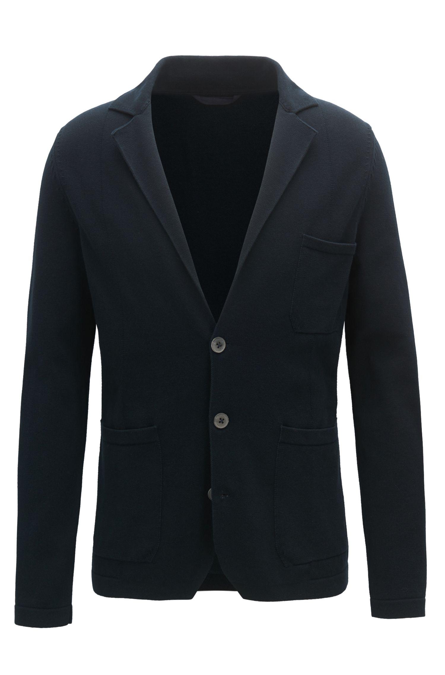 Regular-fit knitted blazer in pure cotton, Dark Blue