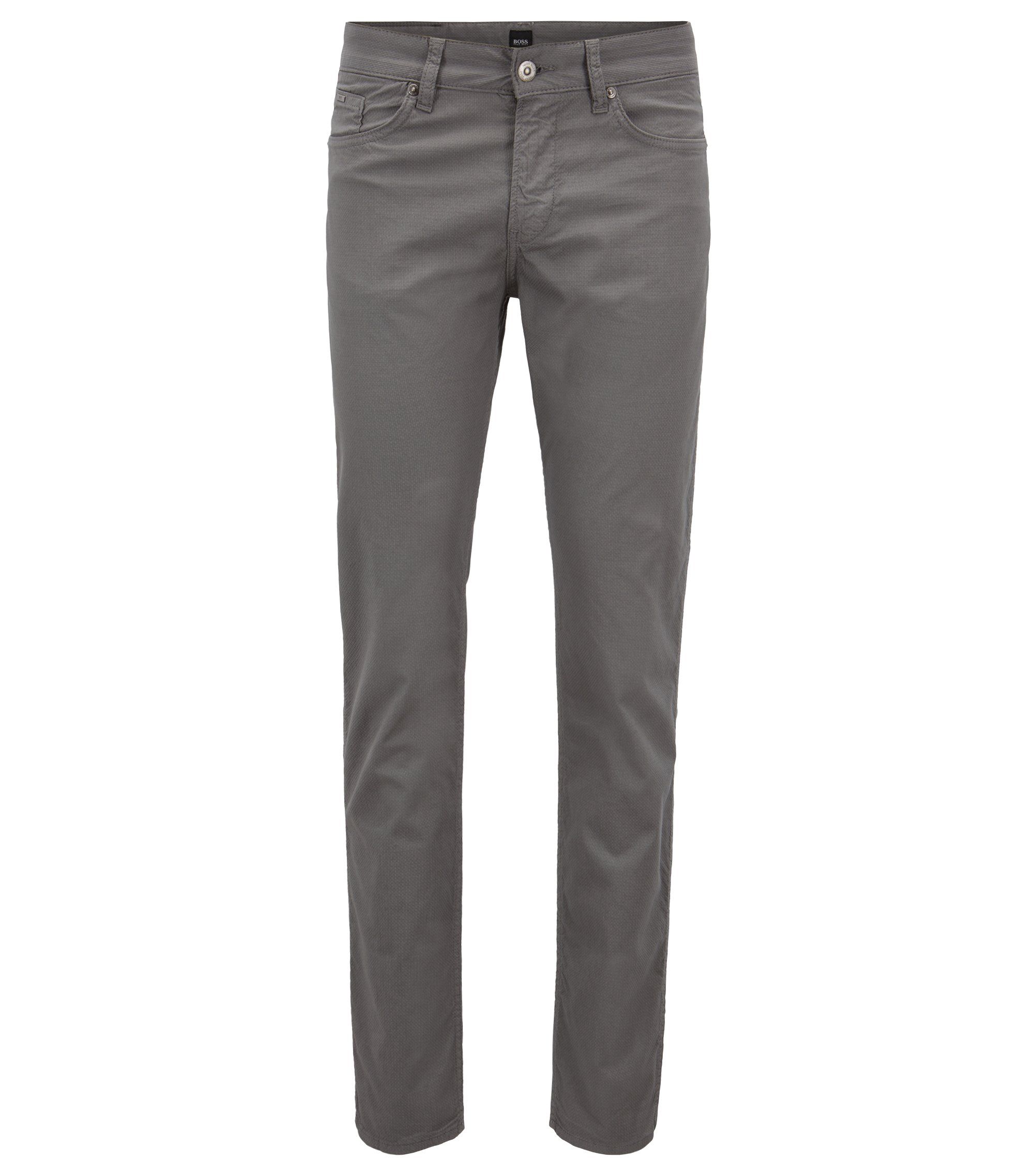 Slim-fit jeans in micro-structured stretch denim, Grey