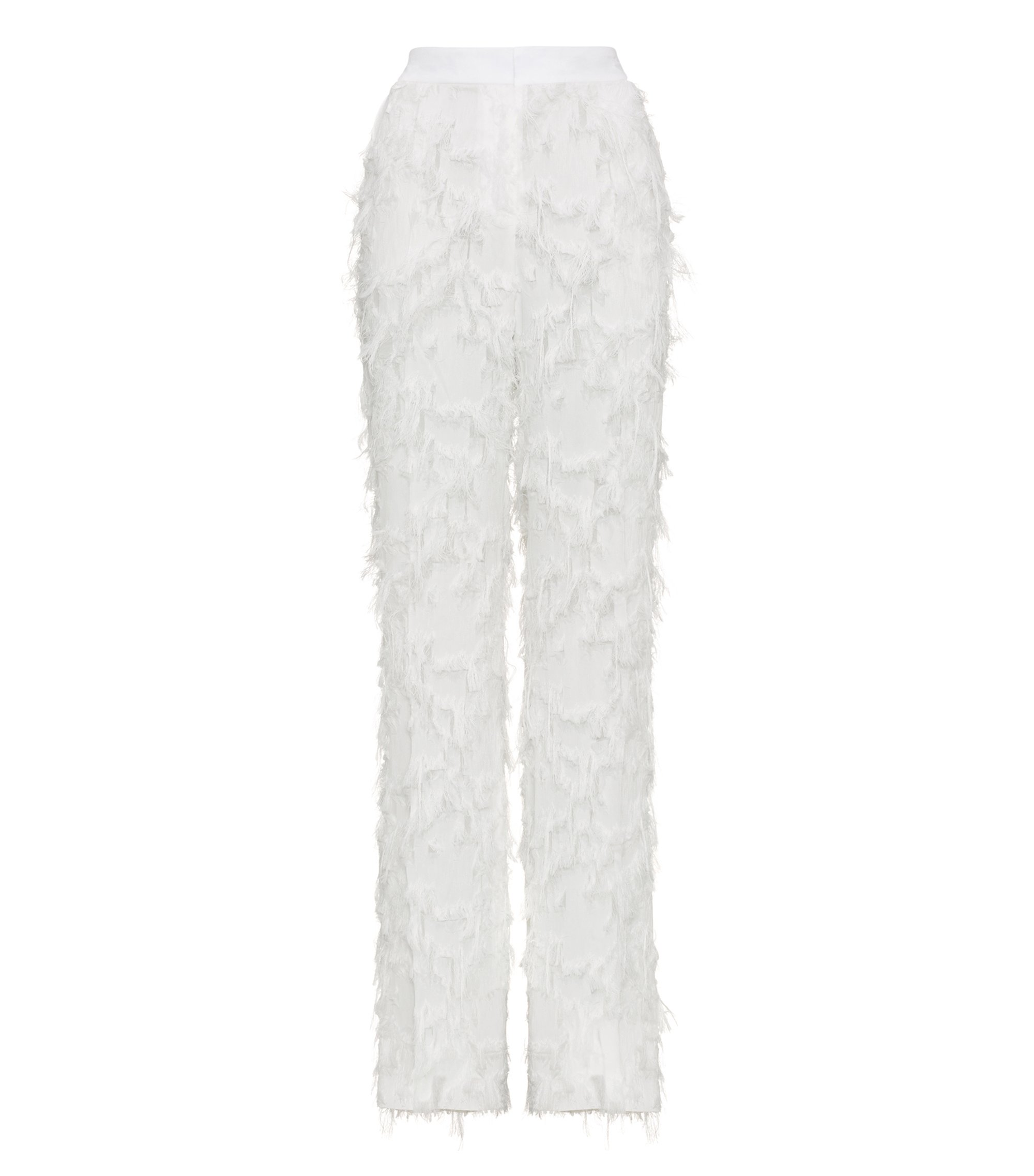 Wide-leg trousers with all-over fringe detailing, Natural