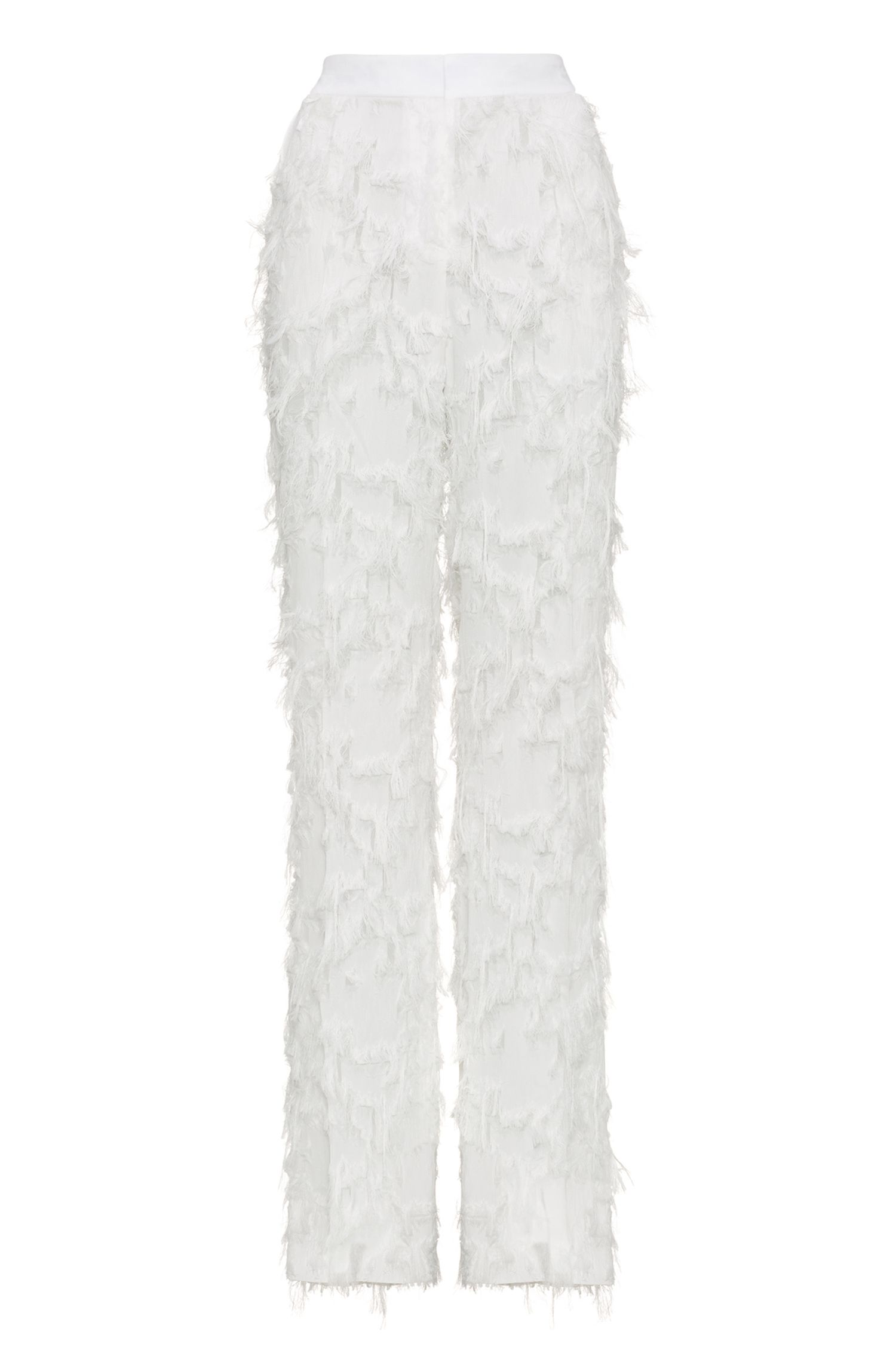 Wide-leg trousers with all-over fringe detailing