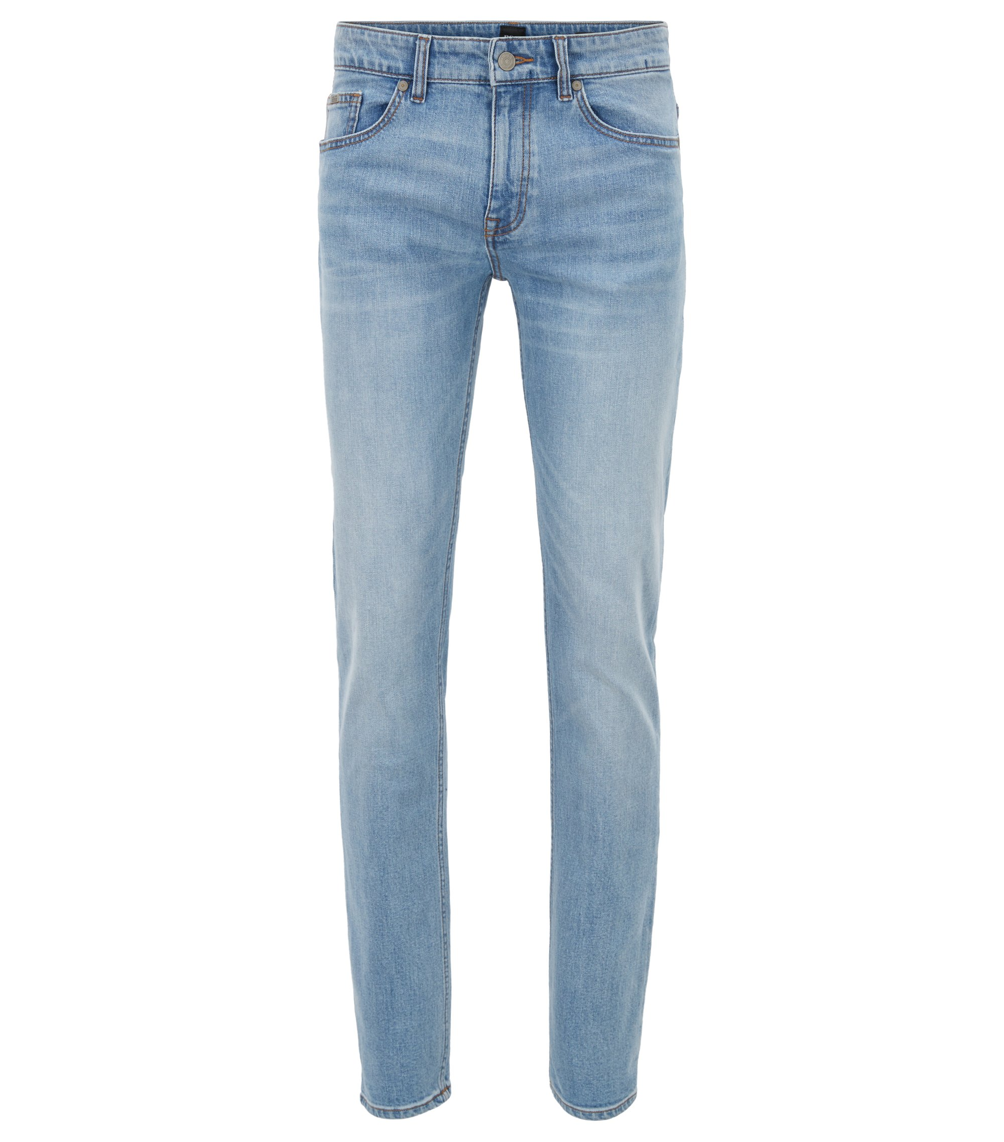 Slim-fit jeans in distressed comfort-stretch denim, Light Blue