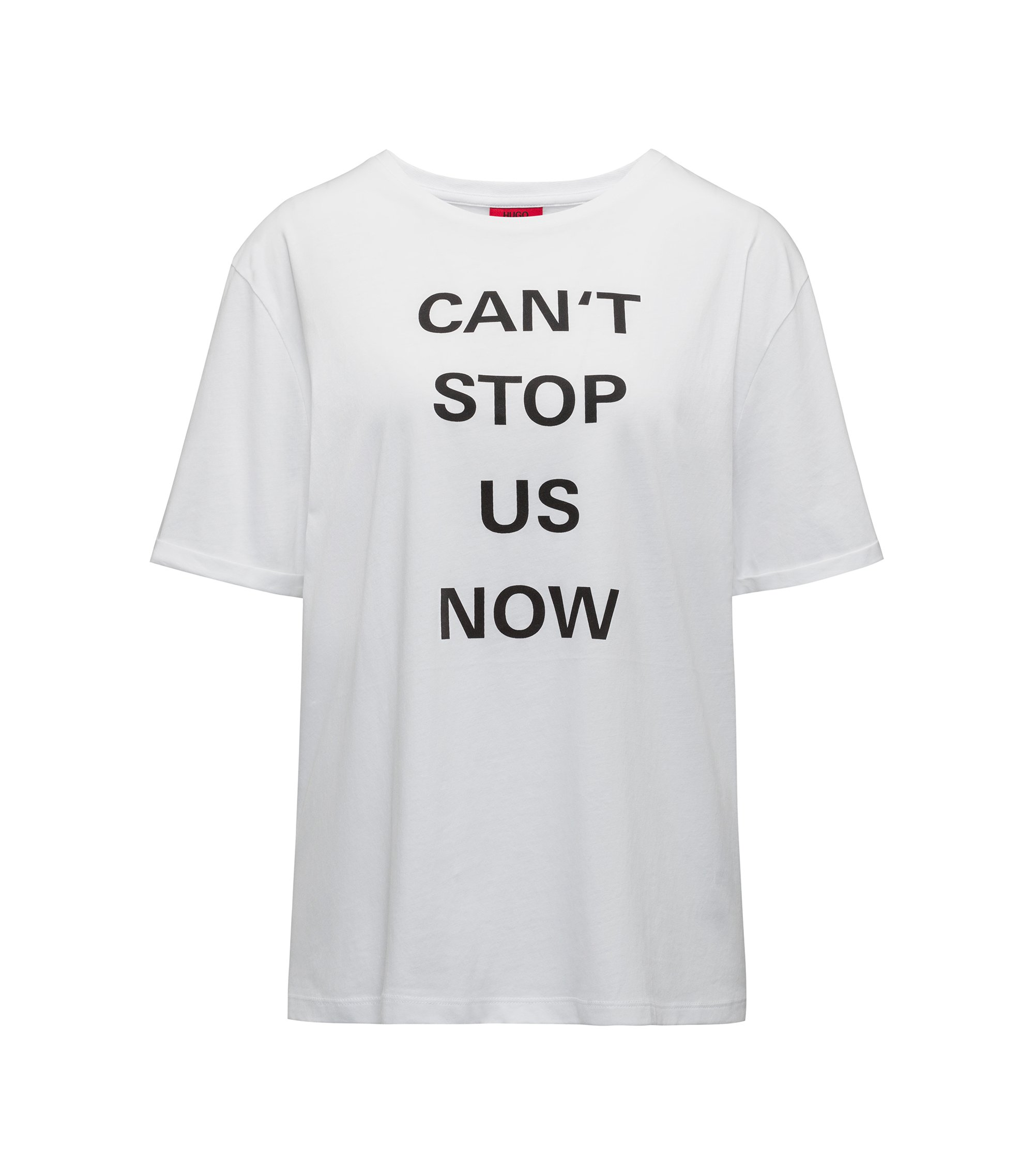 Relaxed-fit T-shirt in organic cotton with slogan print, White