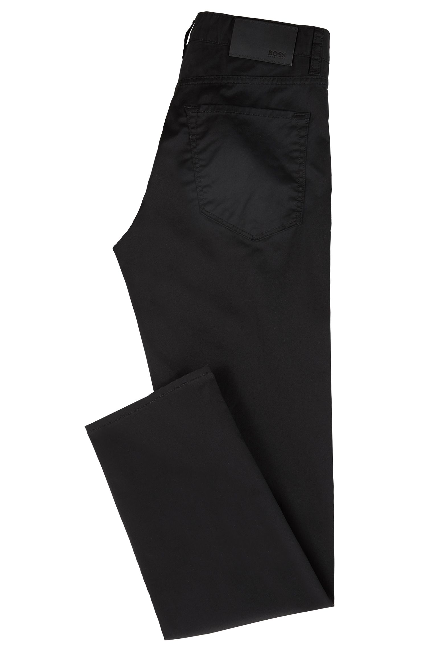 Regular-Fit Jeans aus Stretch-Baumwolle mit Satin-Finish, Schwarz