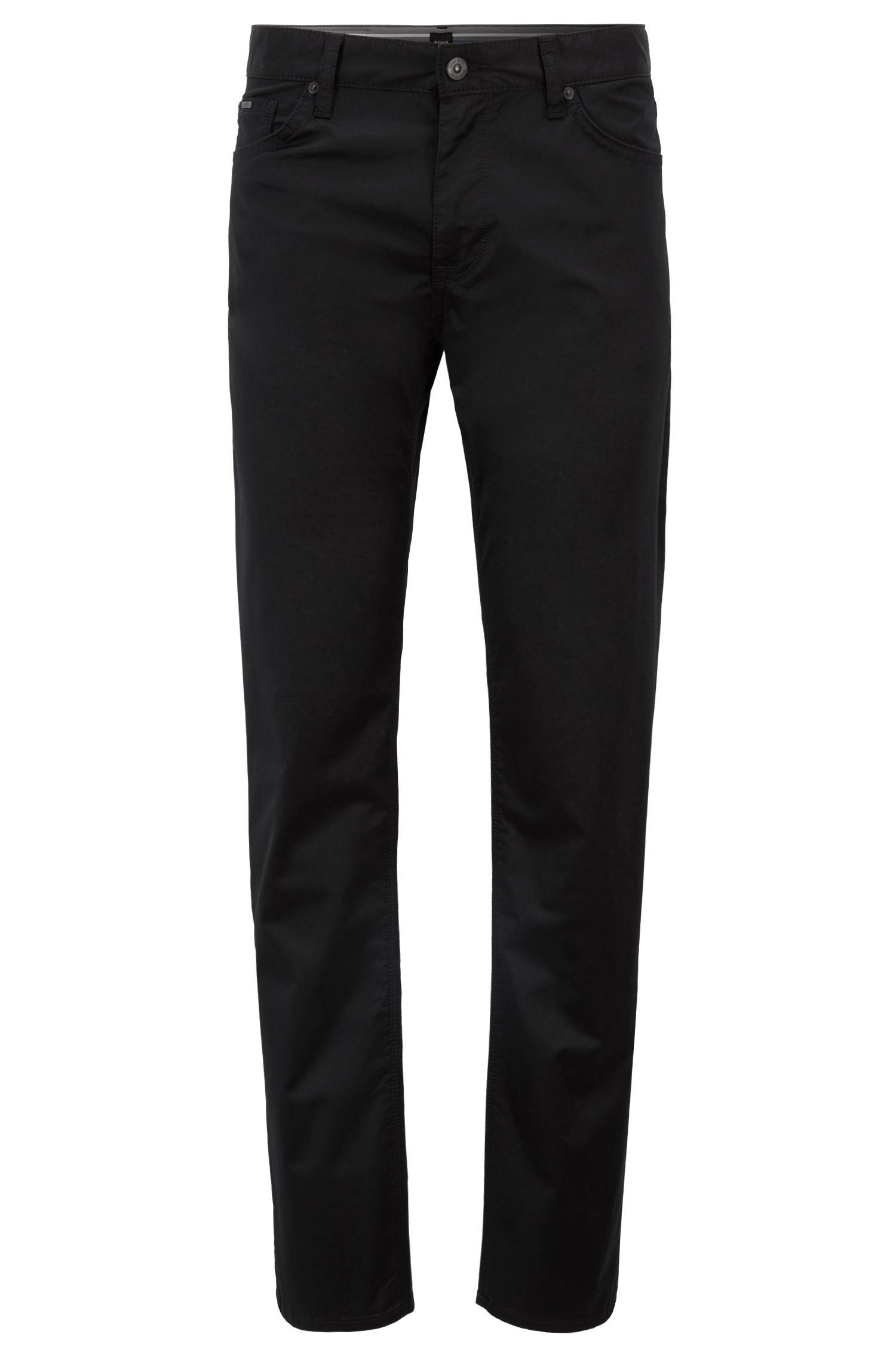 Regular-fit jeans in satin-finish stretch cotton, Black
