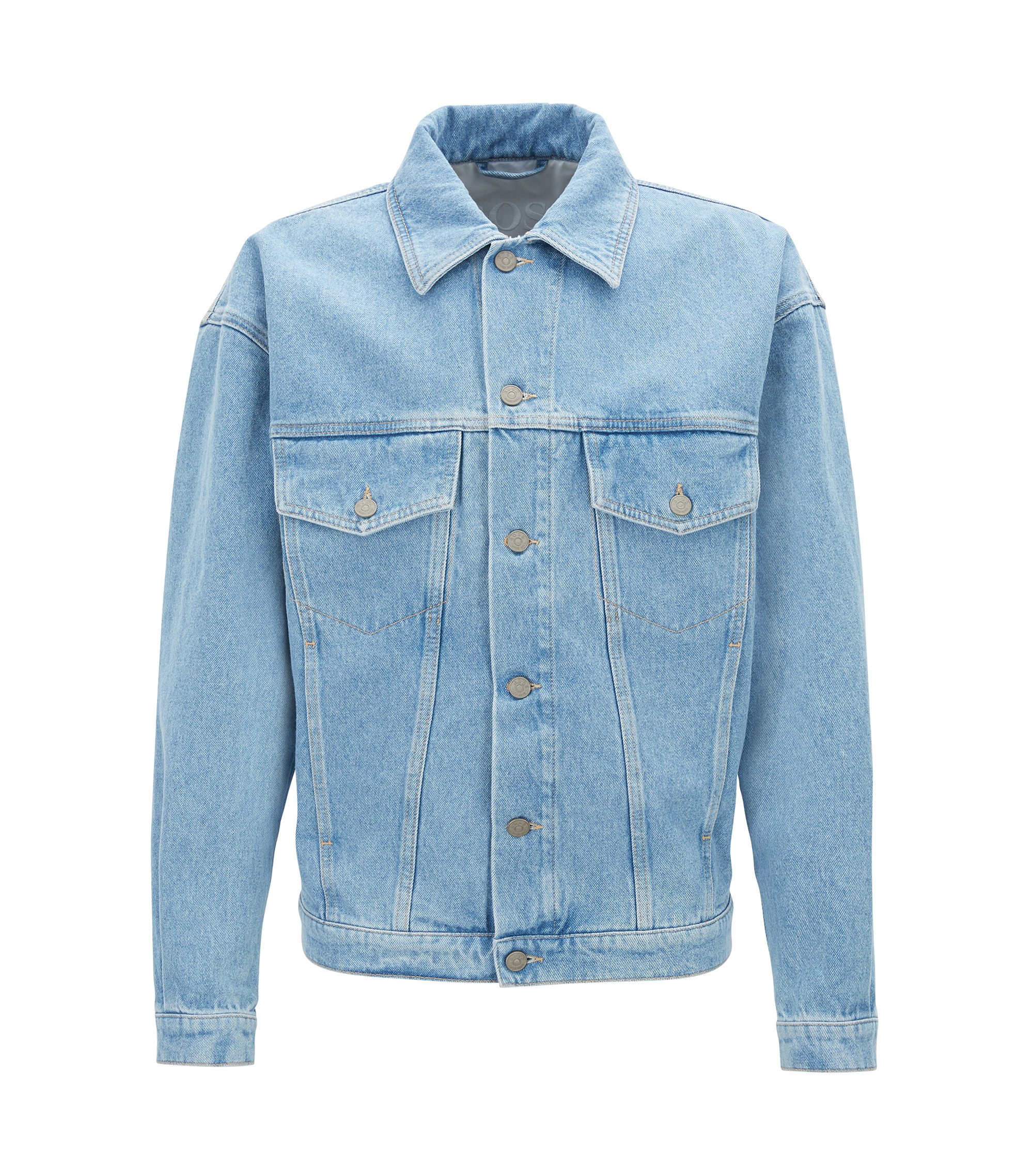 Giacca trucker relaxed fit in denim rigido blu acceso, Blu