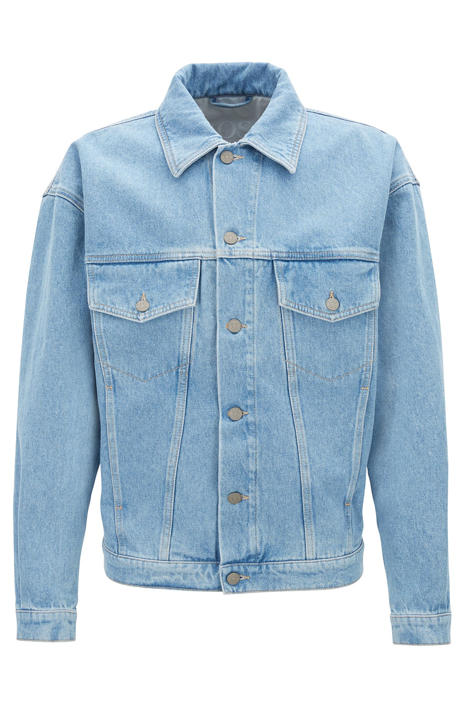 Relaxed-fit truckerjack van felblauw, robuust denim