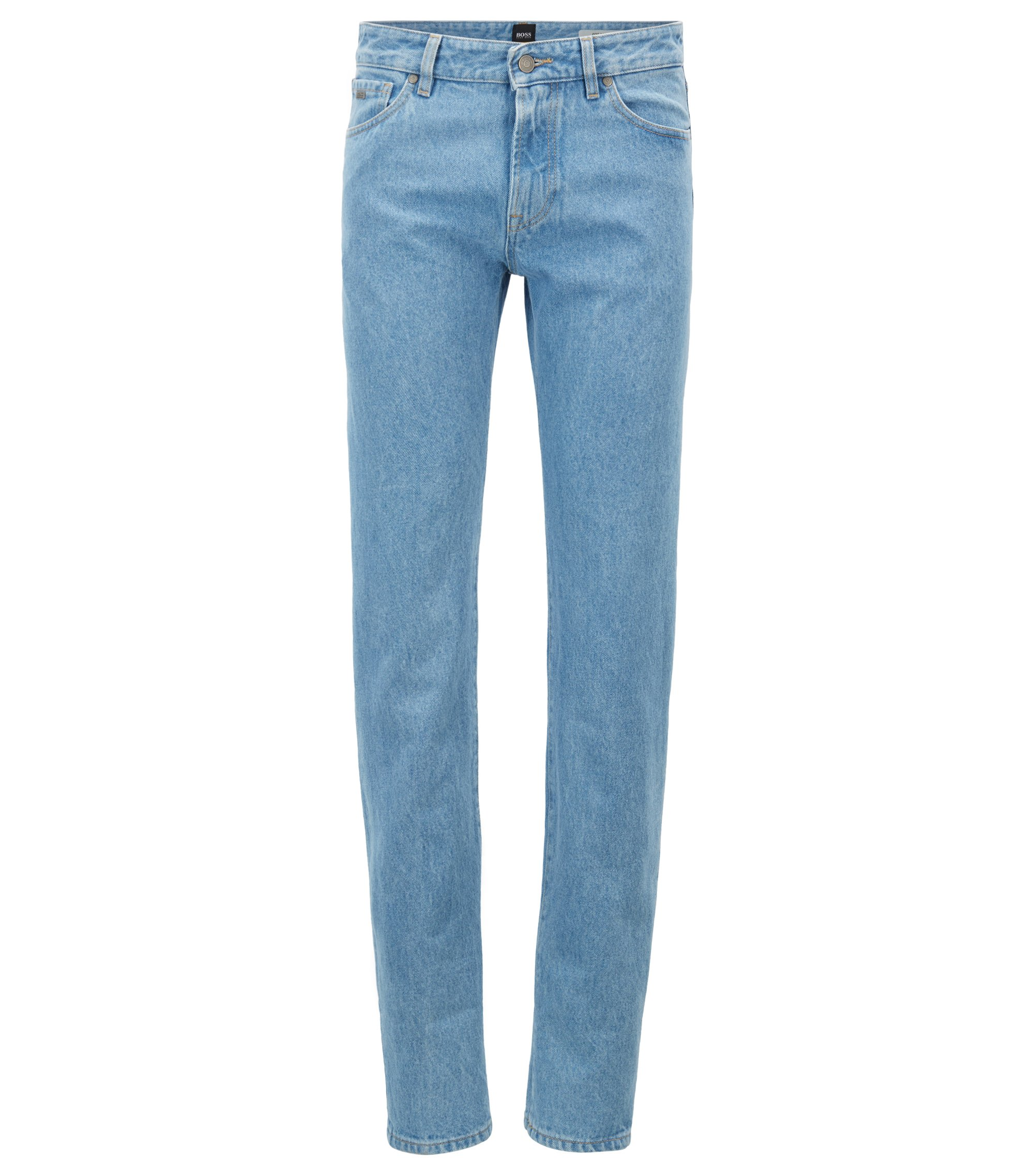Jean Regular Fit en denim rigide, avec revers, Bleu vif