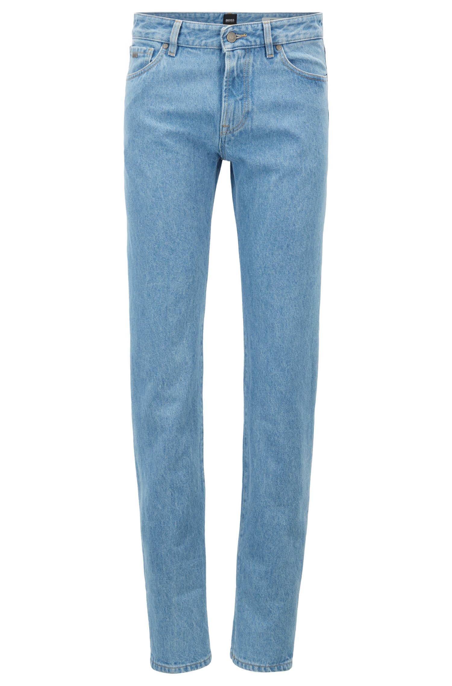 Jeans regular fit in denim rigido con risvolti, Celeste