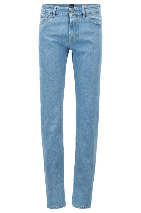 Regular-fit jeans in rigid denim with turn-ups BOSS V8Fzz1Pf