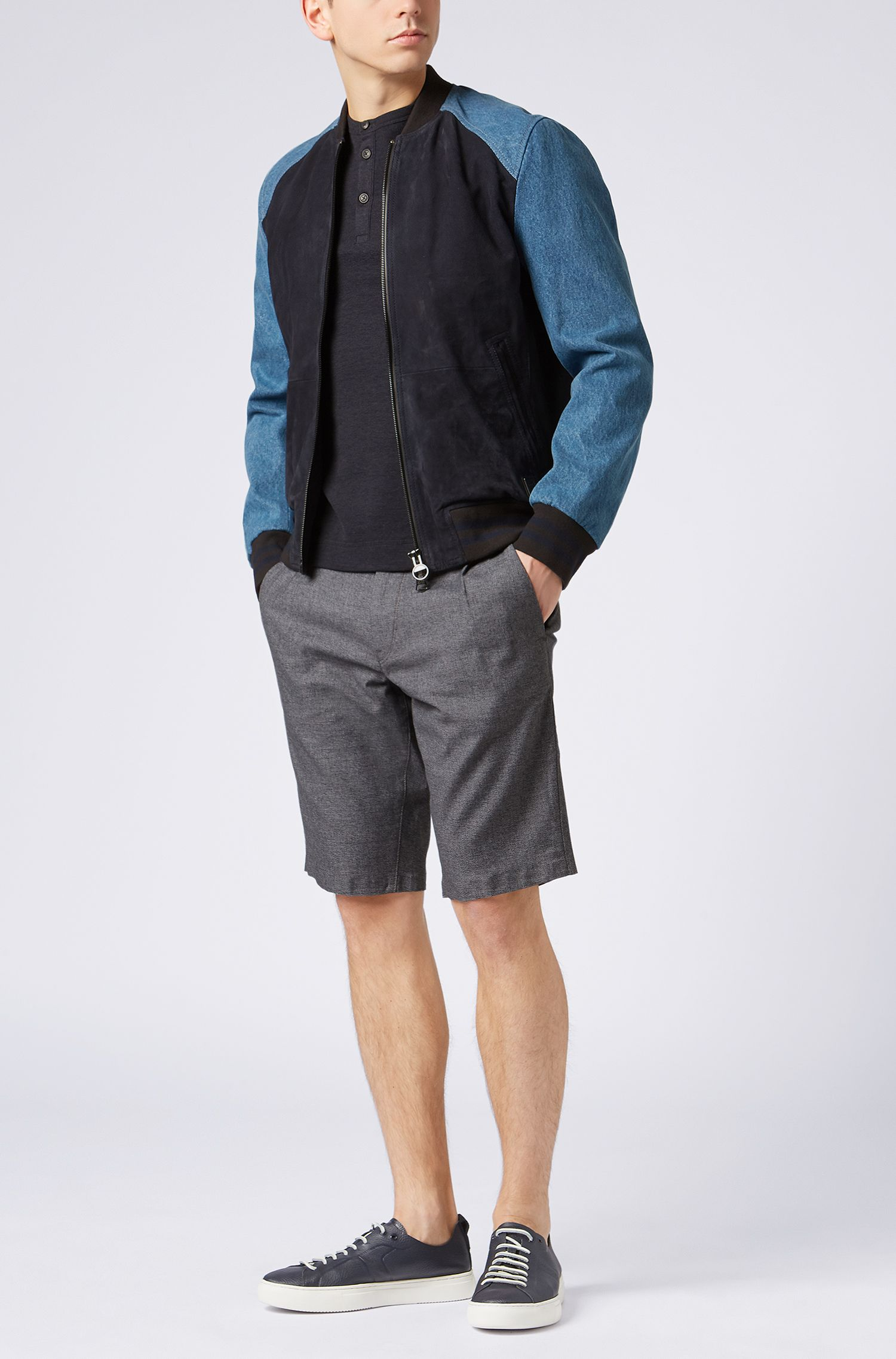 Slim-Fit Shorts aus zweifarbiger Stretch-Baumwolle