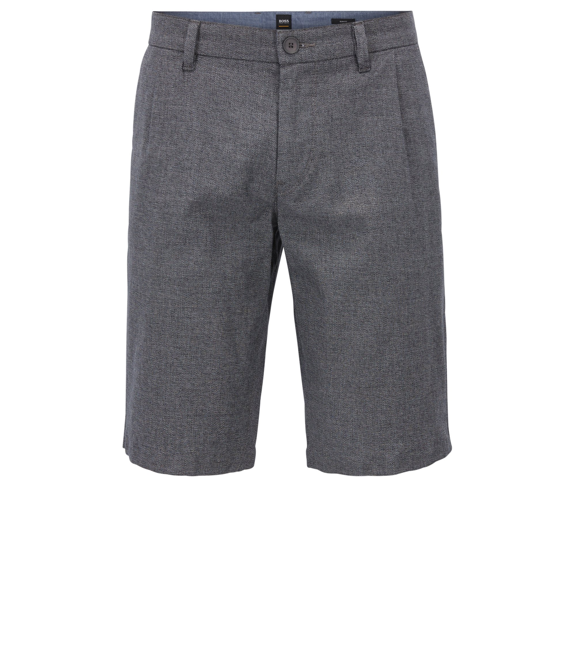 Slim-fit shorts in two-tone melange stretch cotton, Dark Blue