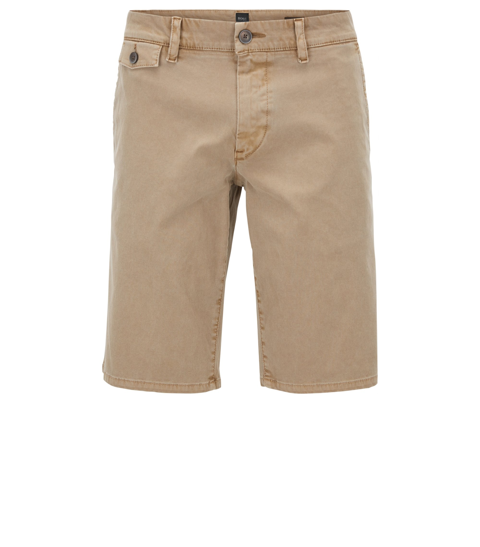 Short Regular Fit en velours côtelé Bedford de coton, Beige
