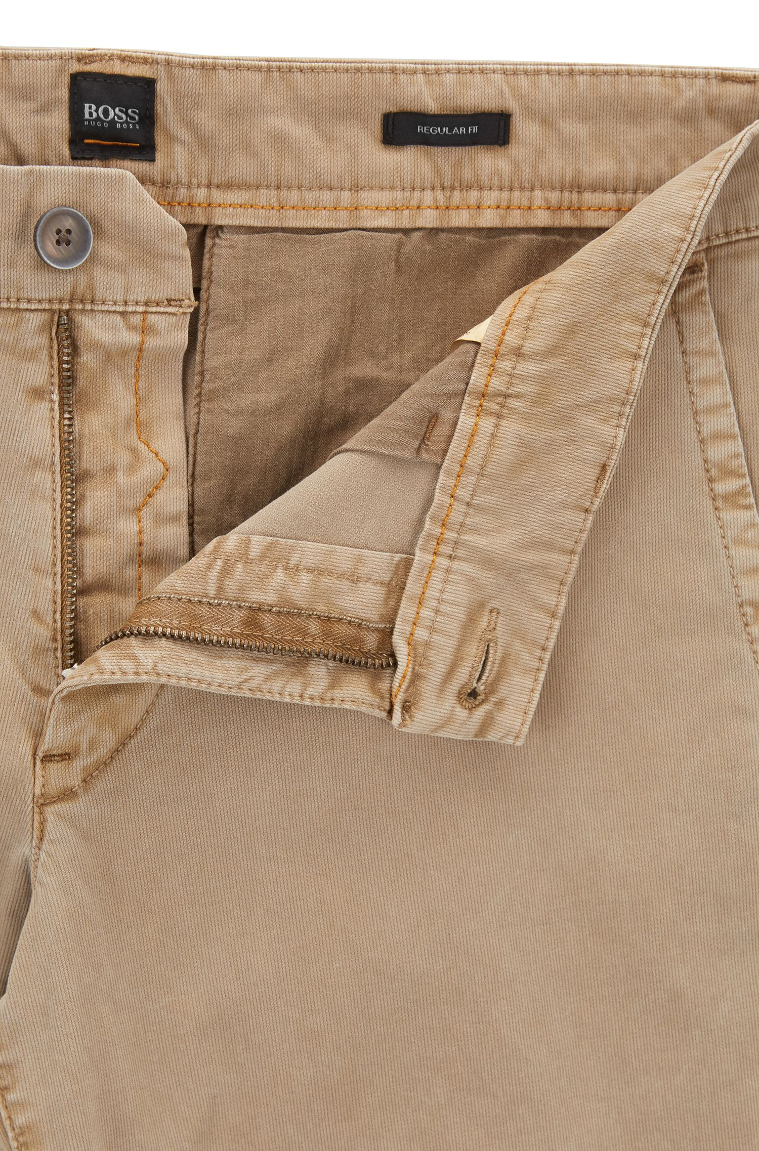 Regular-fit shorts in cotton Bedford corduroy, Beige