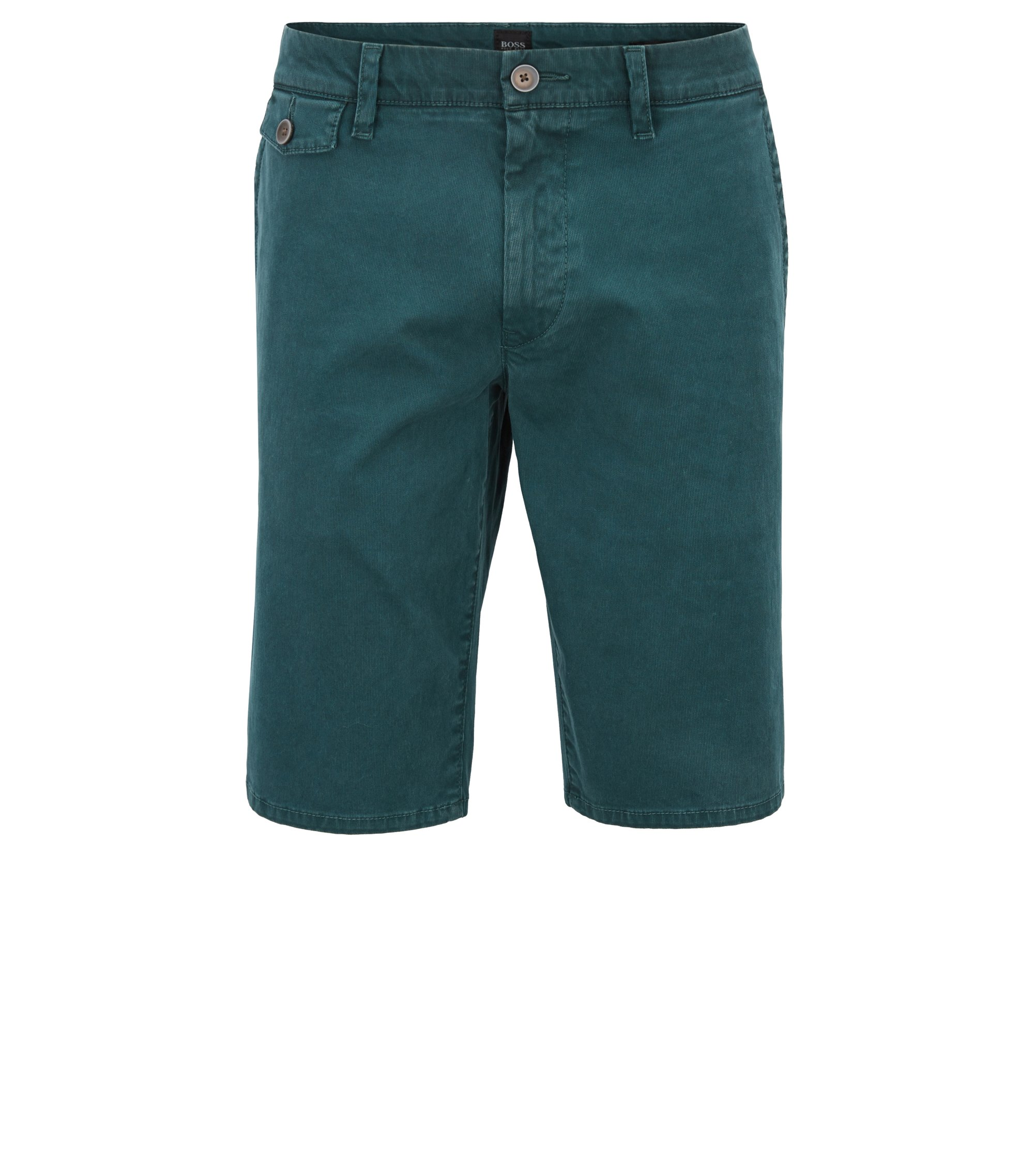 Regular-fit short van katoenen Bedford-corduroy, Donkergroen
