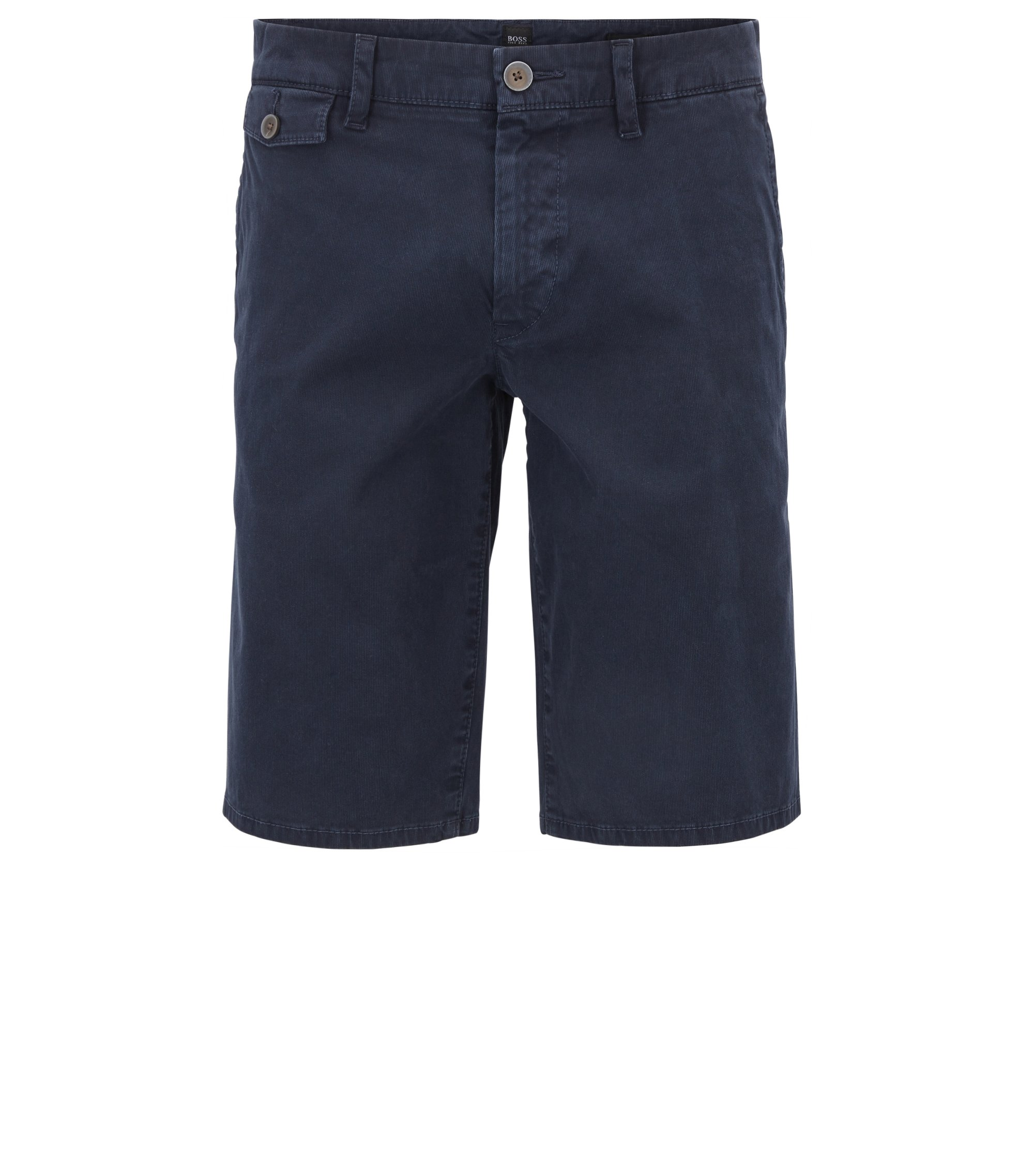 Regular-Fit Shorts aus Bedford-Cord, Dunkelblau