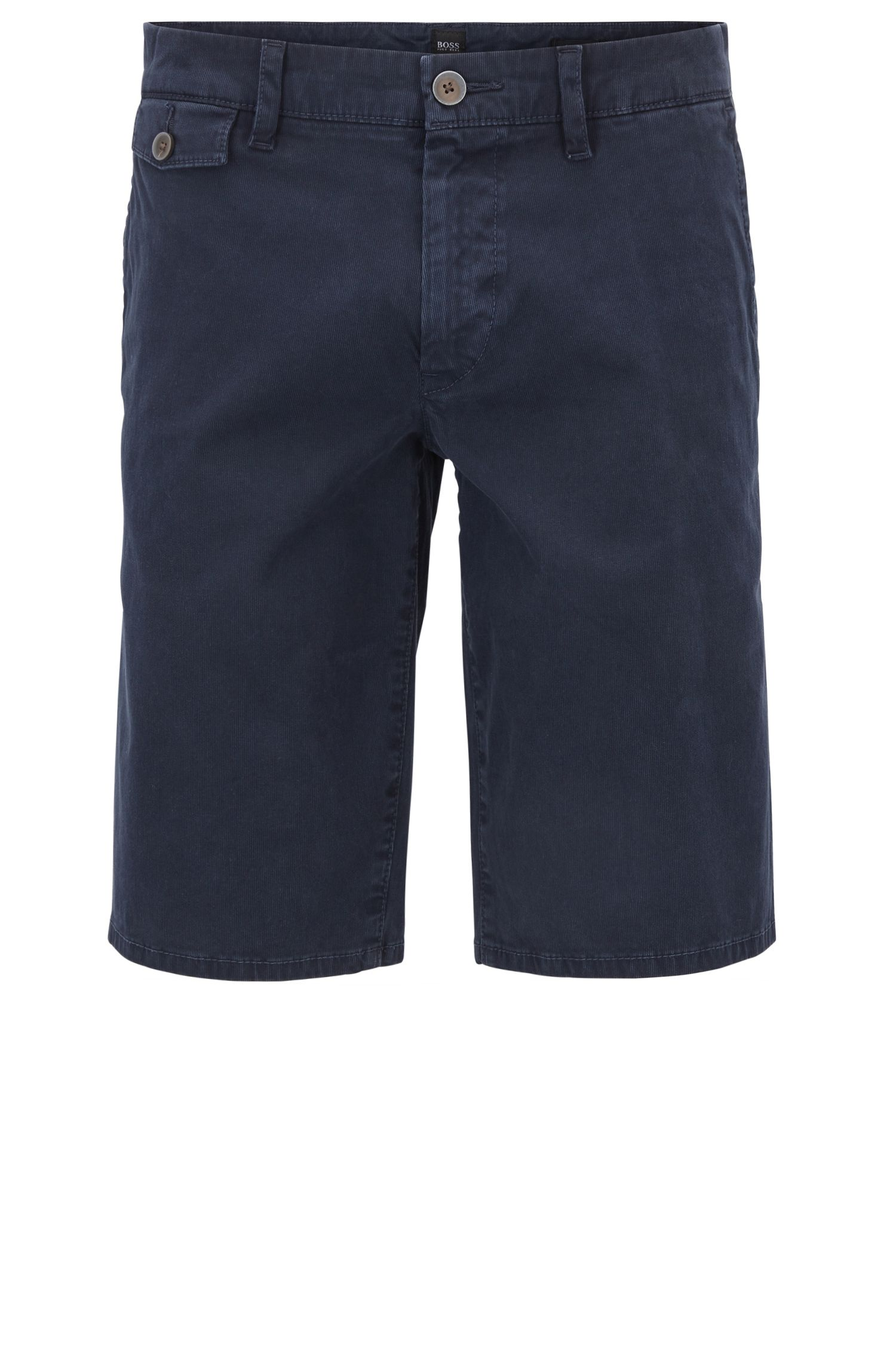 Regular-fit short van katoenen Bedford-corduroy, Donkerblauw