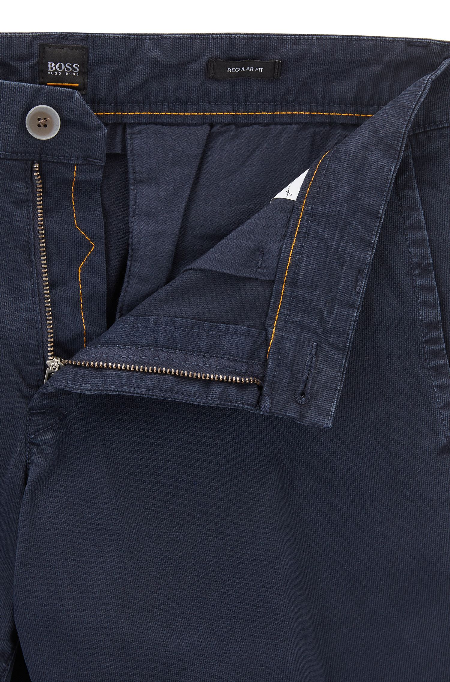 Regular-fit shorts in cotton Bedford corduroy, Dark Blue